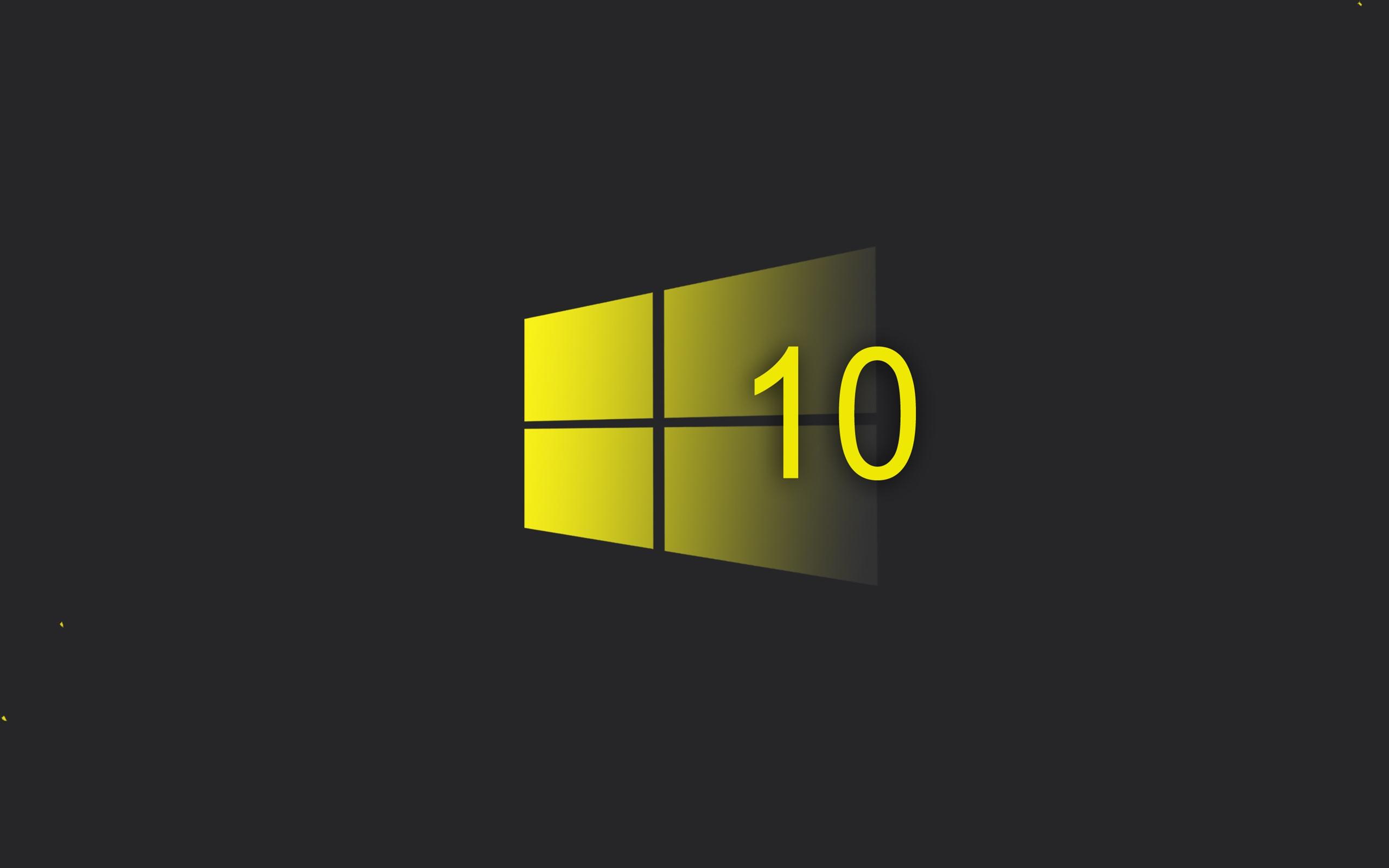 壁紙 Windowsの10システム 黄色のスタイルのロゴ 黒の背景 2880x1800