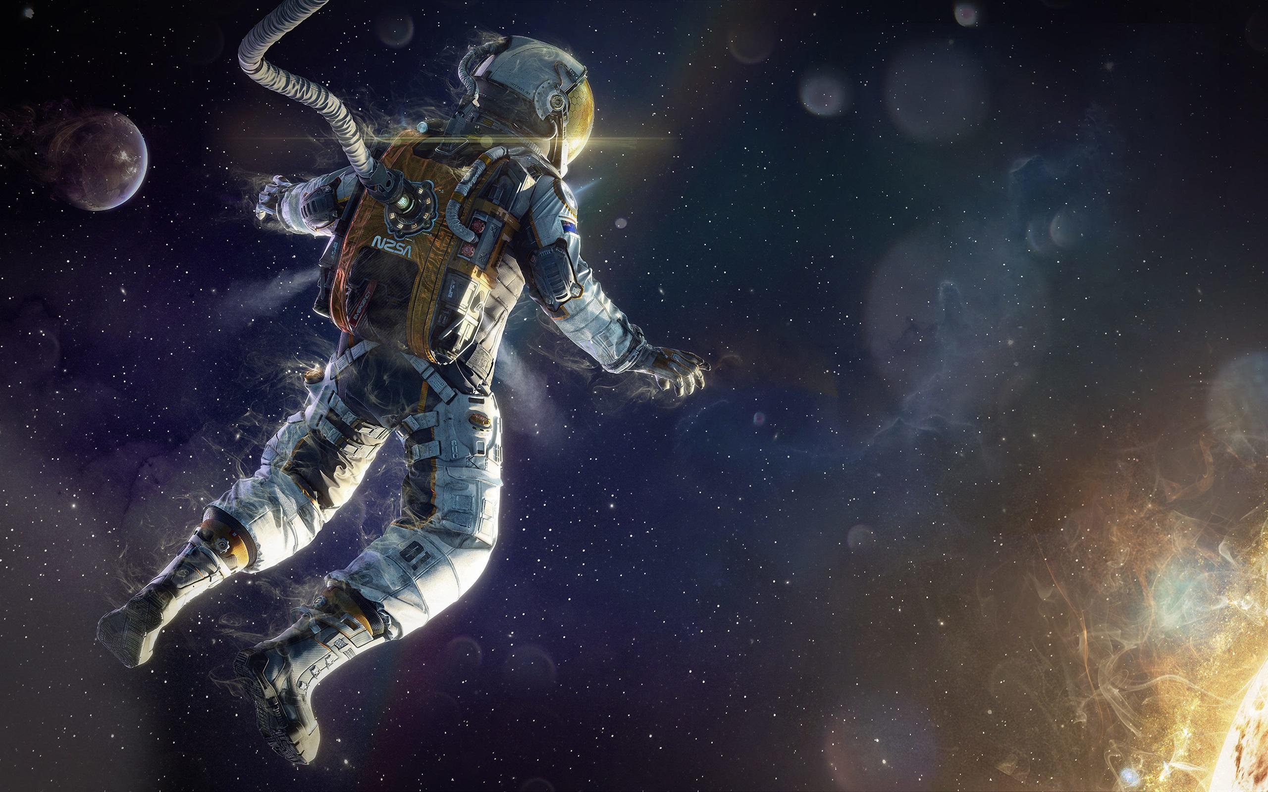 壁纸 宇航员漂浮在空间,行星,恒星 2560x1600 HD 高清壁纸, 图片, 照片