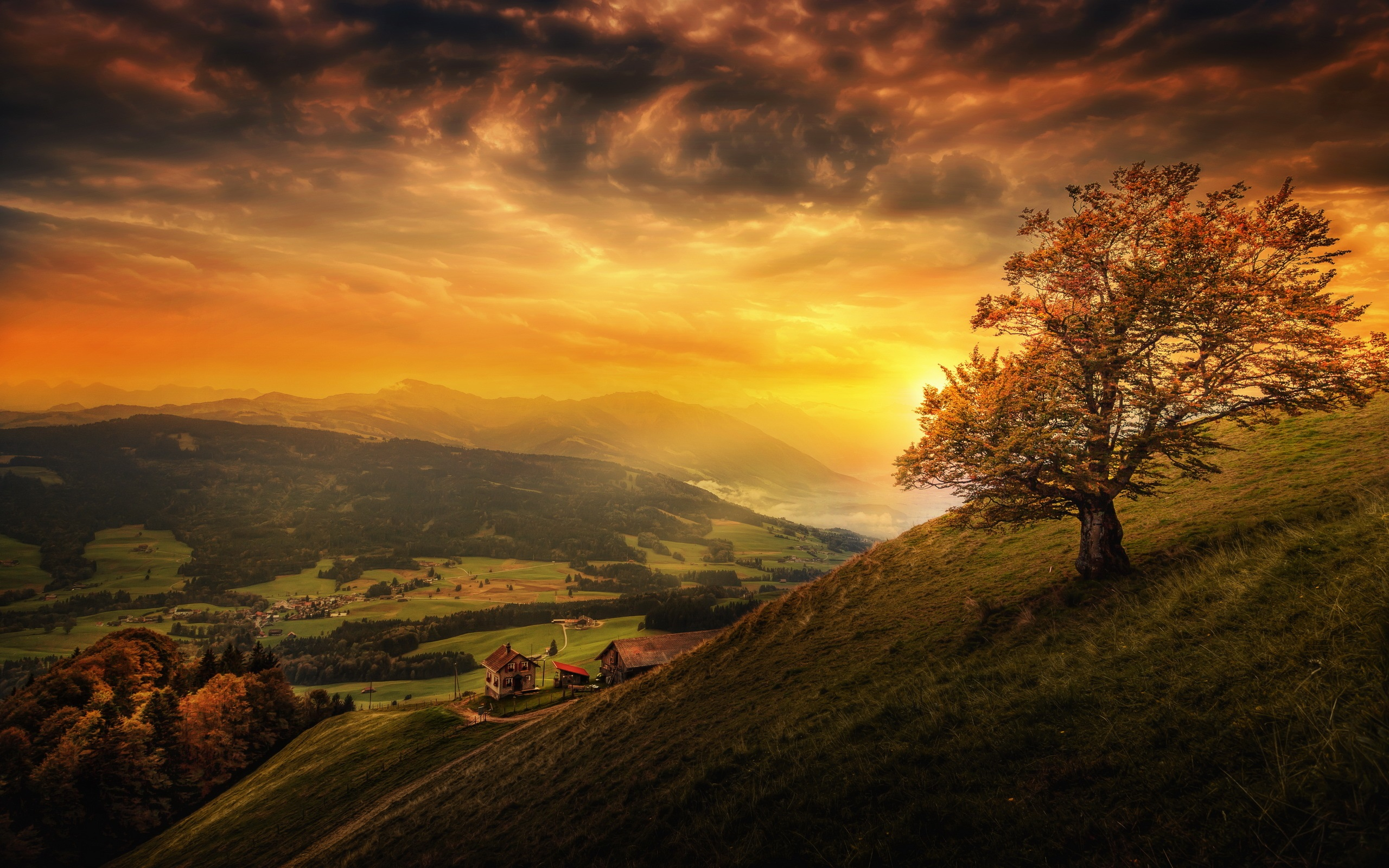 Wallpaper Beautiful Sunset Mountain Slope Tree Clouds Houses
