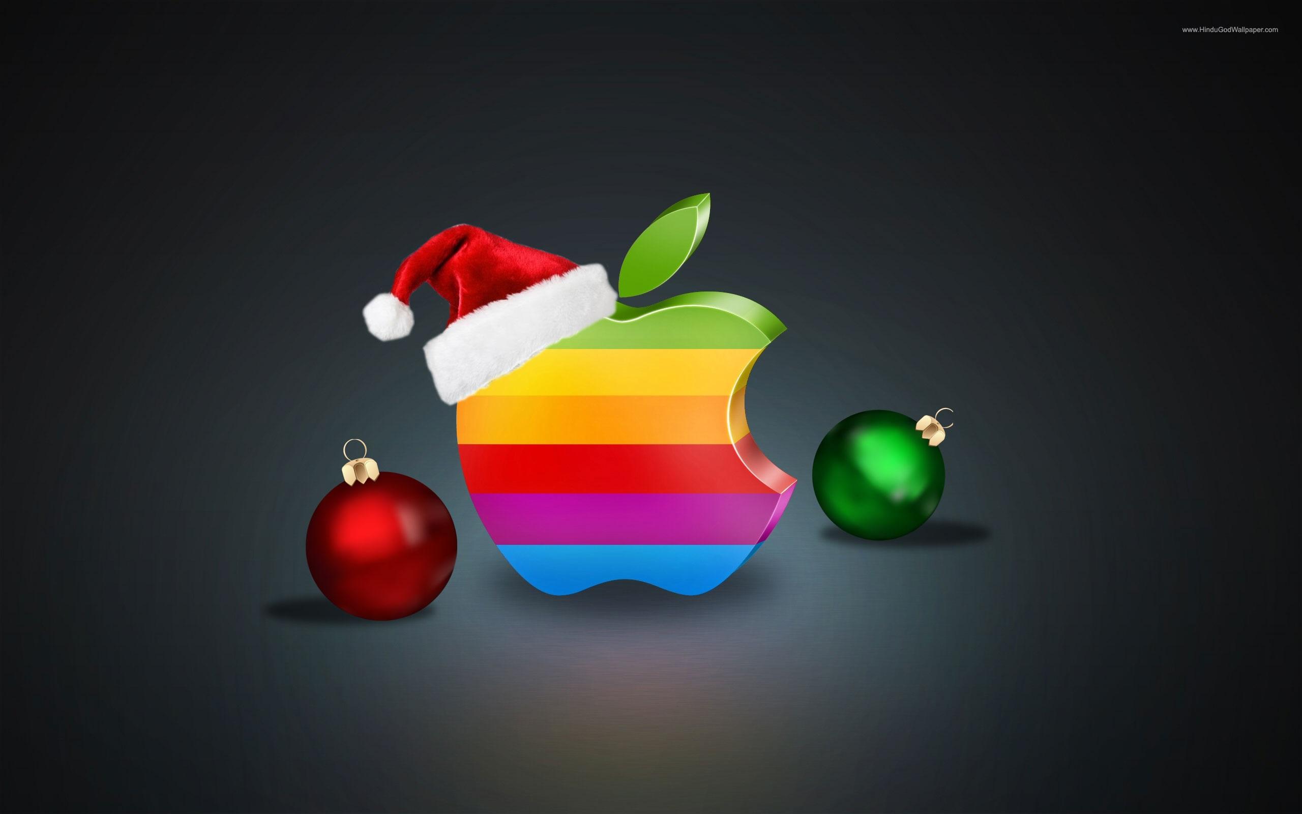 Wallpaper Rainbow Colors Apple Logo Christmas Balls And Hat