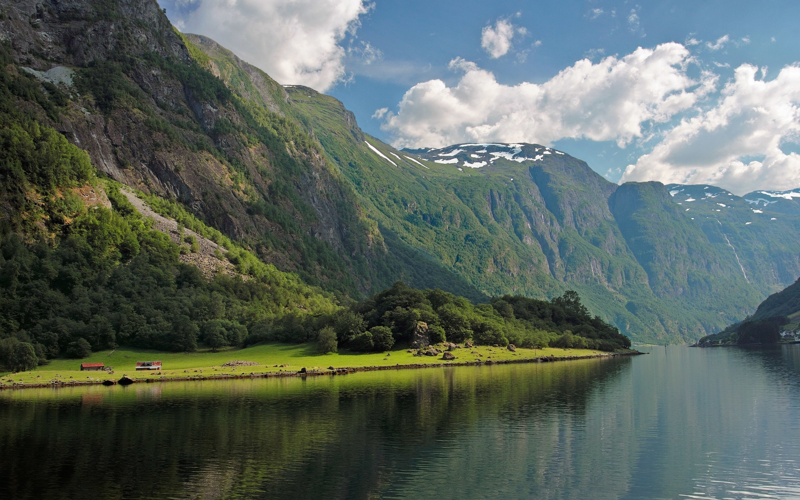 Wallpaper Bay Fjord Norway Forest River Mountains