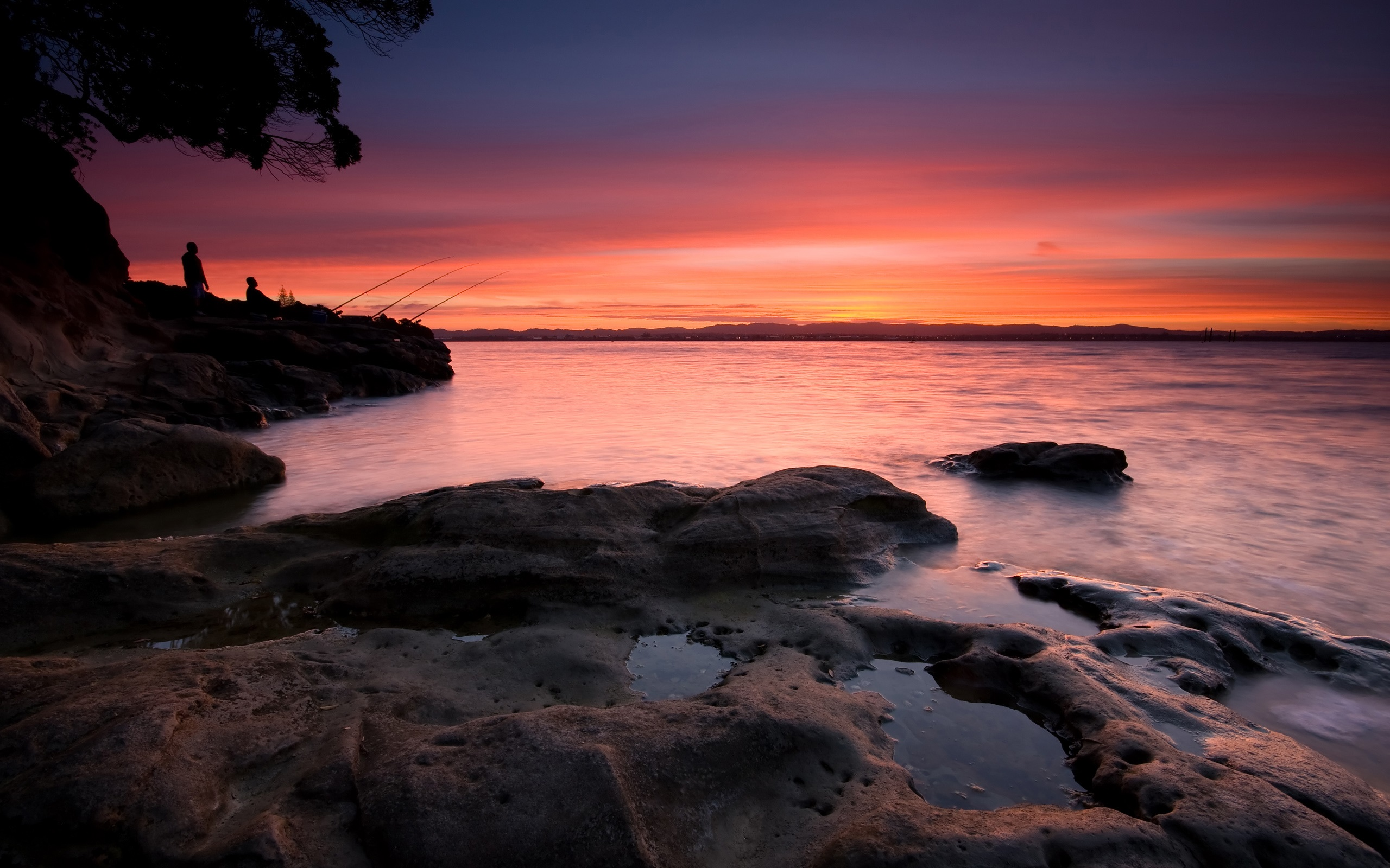 закат, скалы, озеро  № 661941 без смс