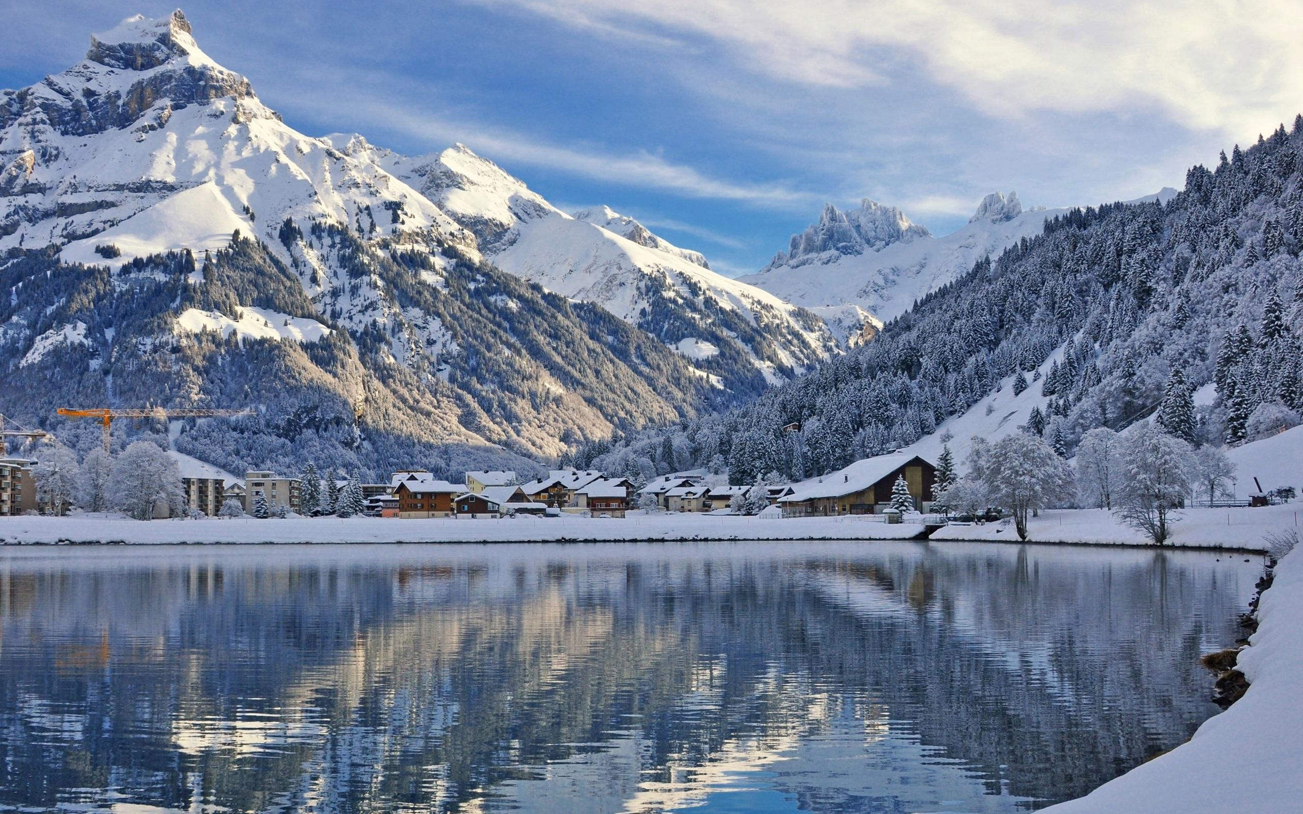 Lago Con Montañas Nevadas Hd: Fondos De Pantalla Engelberg, Suiza, Montañas, Nieve