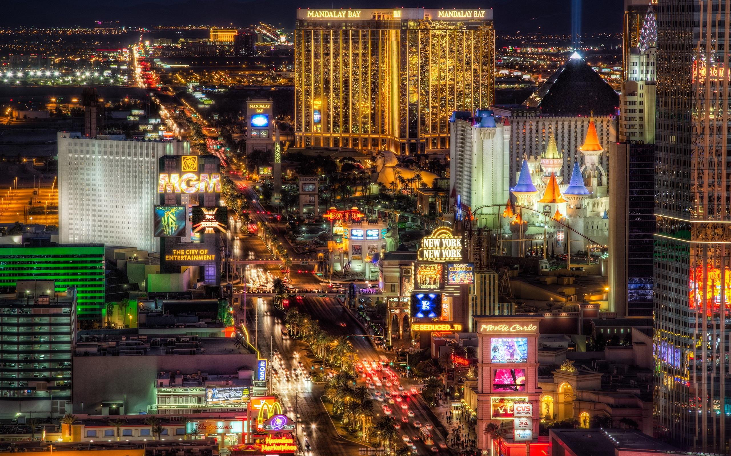 Wallpaper Beautiful Las Vegas City Night Illumination Lights