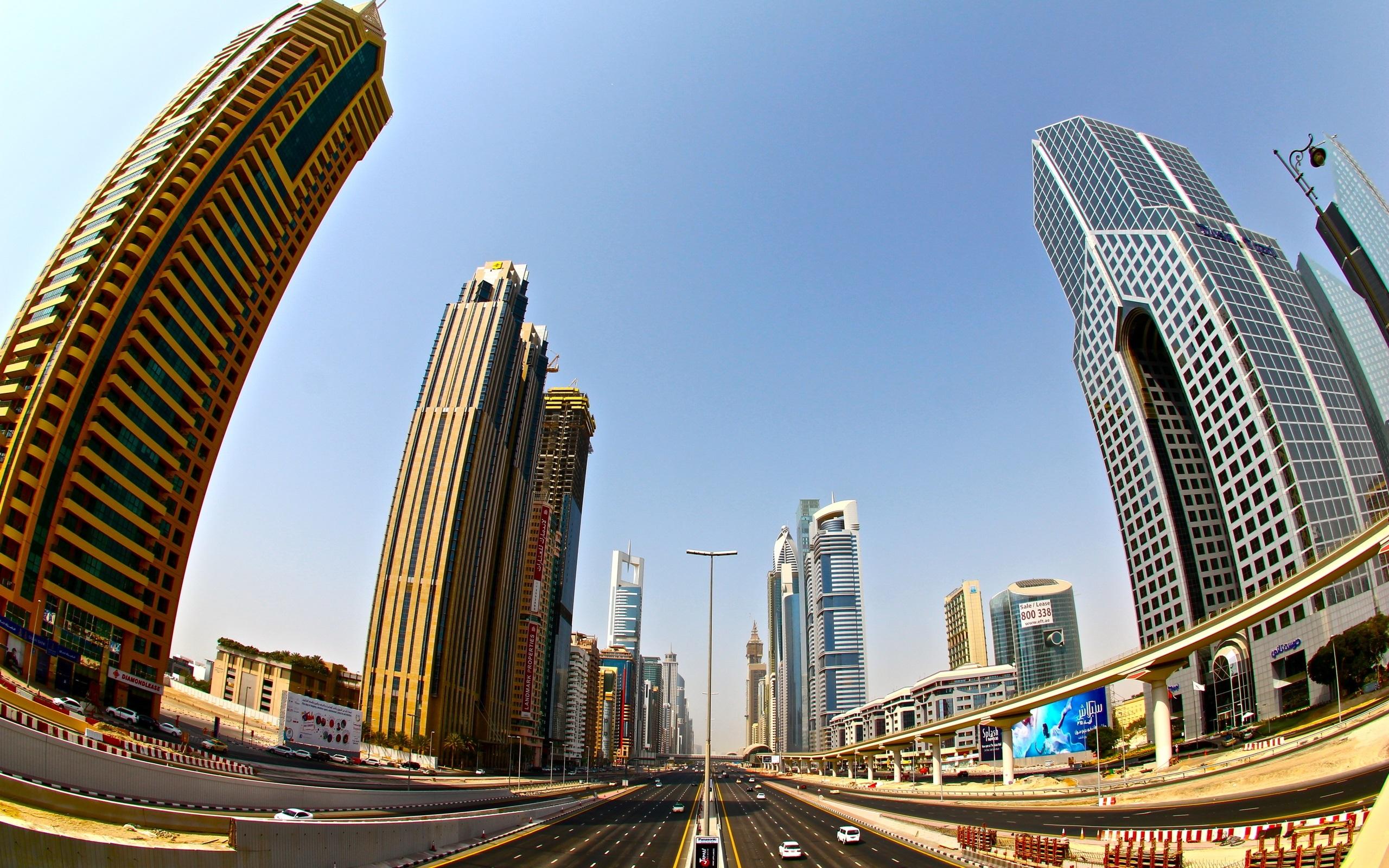 Fondos De Pantalla Dubai, Rascacielos, Carretera, Ciudad