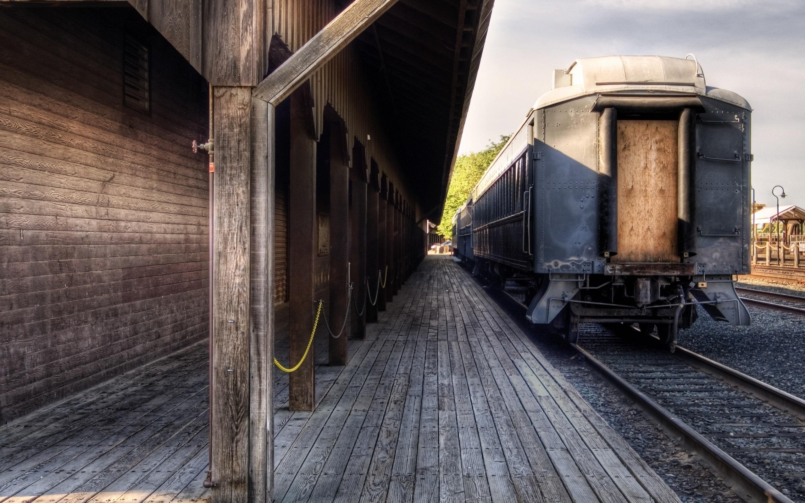 Wallpaper Train Station Railway Retro 2560x1600 Hd