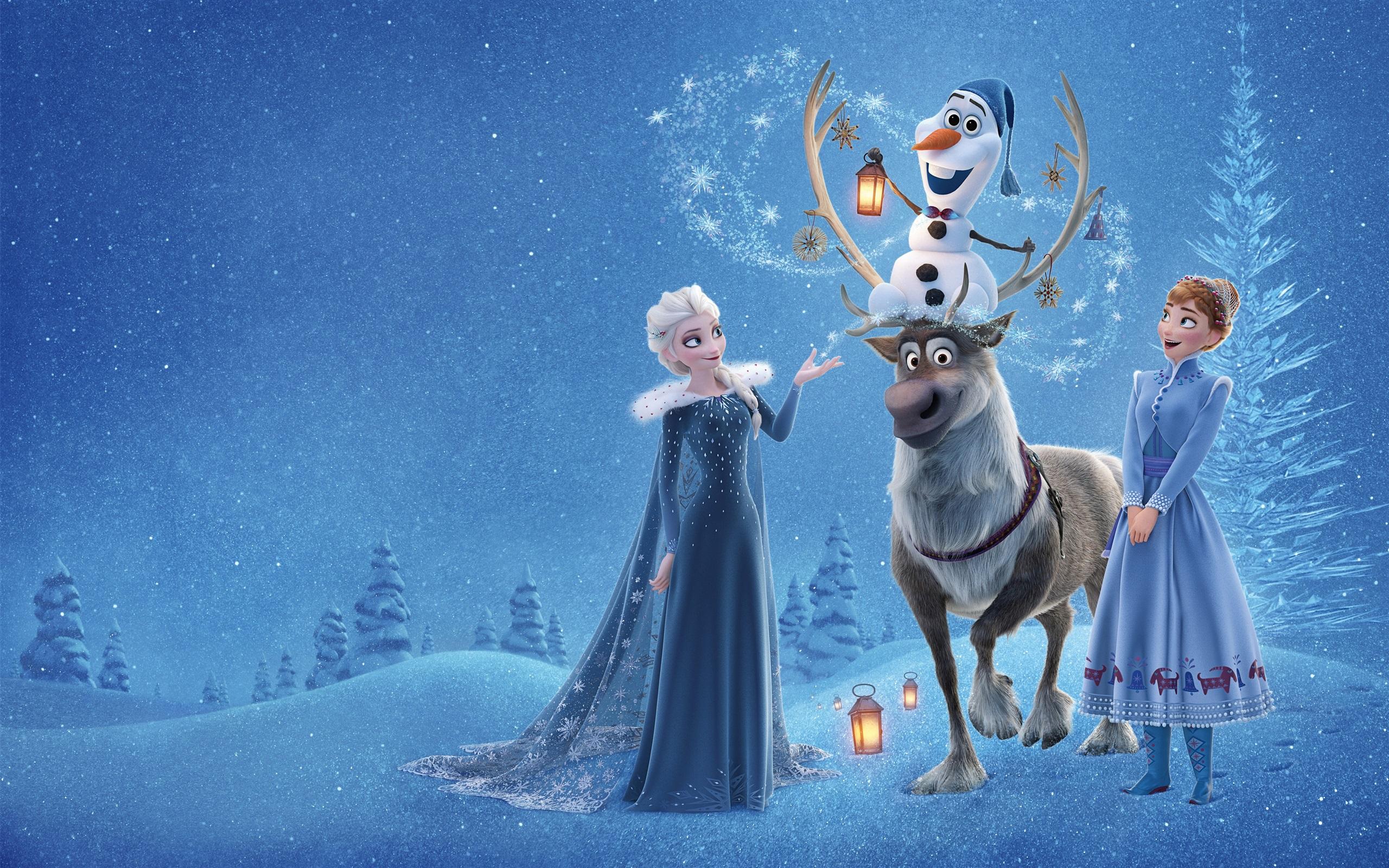 壁紙 アナと雪の女王 エルサ アンナ 鹿 雪だるま ディズニー