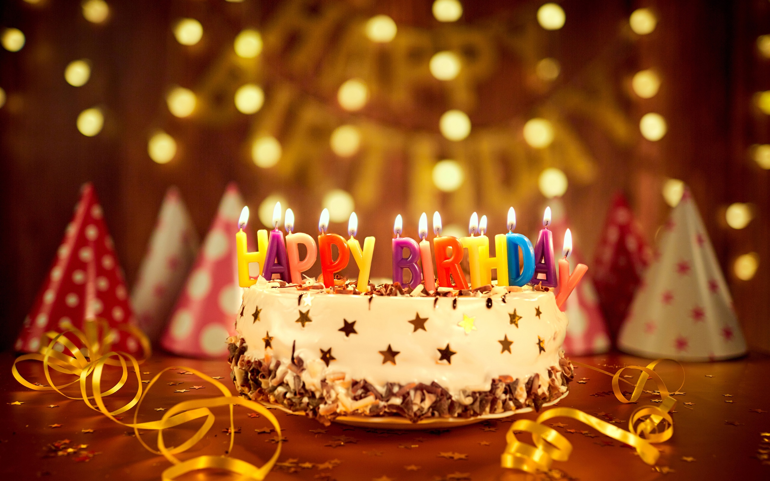 Wallpaper Happy Birthday Cake Colorful Candles Ribbon 3840x2160
