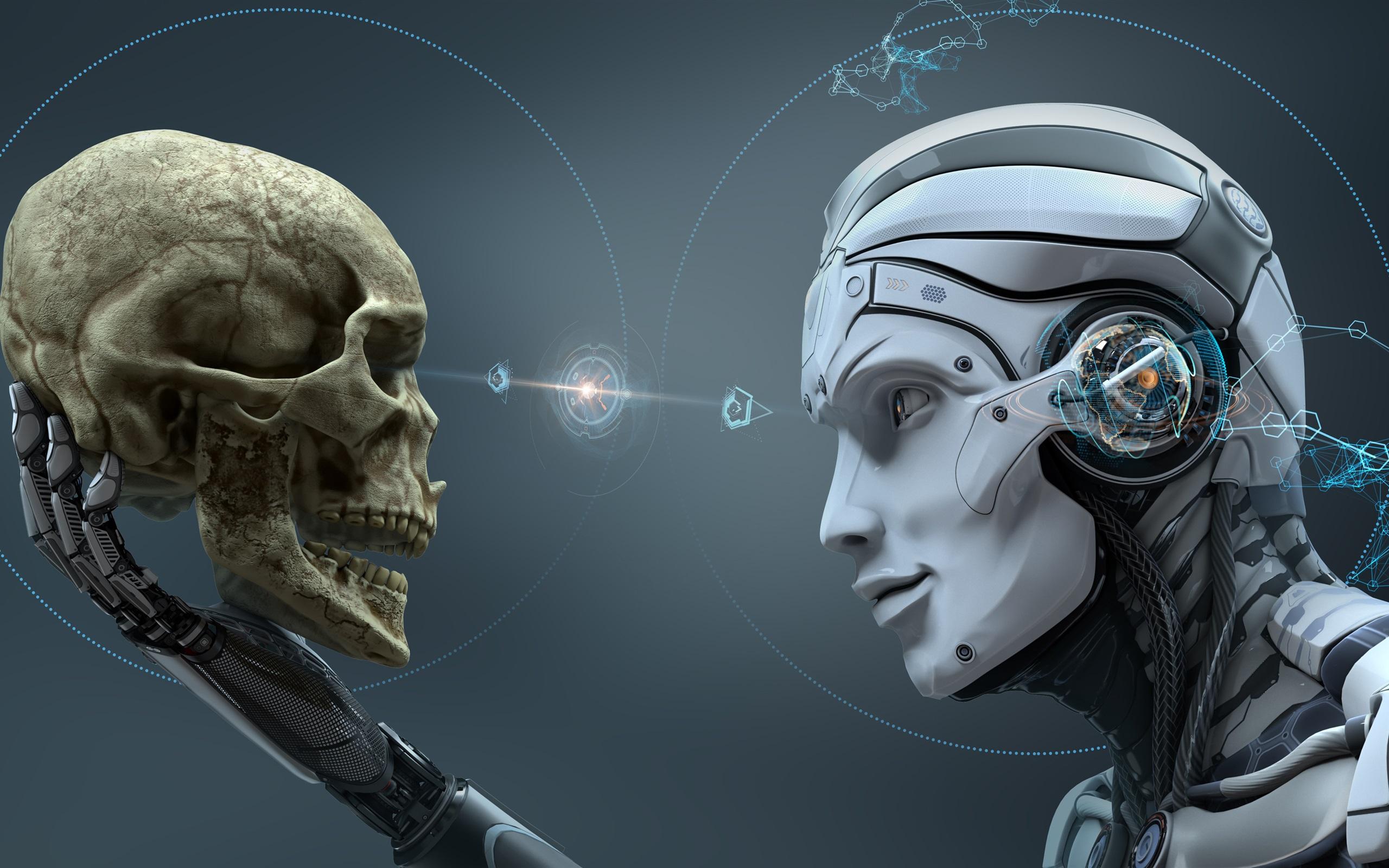 Wallpaper Robot Skull Creative Design 3840x2160 Uhd 4k