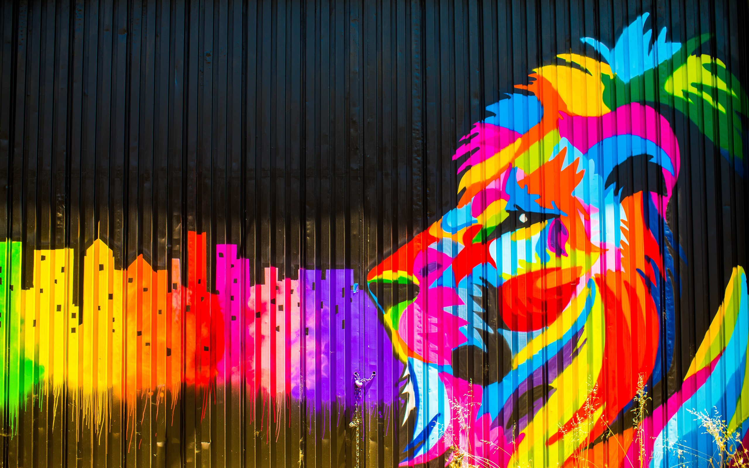 download wallpaper 2560x1600 colorful paint fence