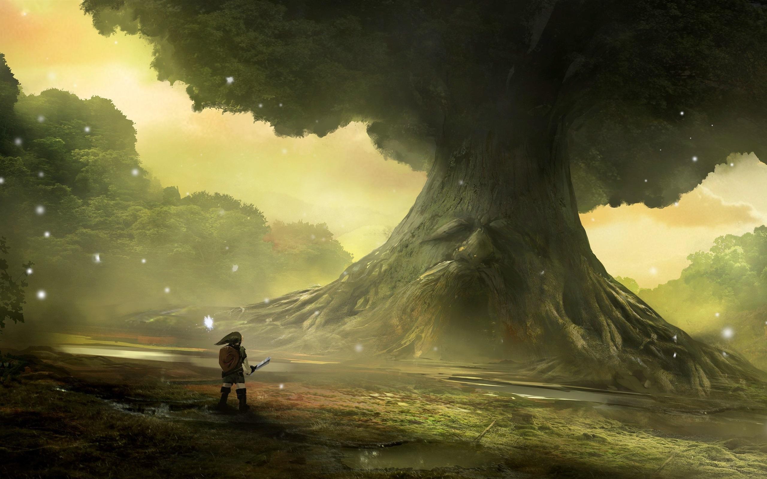Wallpaper The Legend of Zelda, Nintendo, game, big tree, art