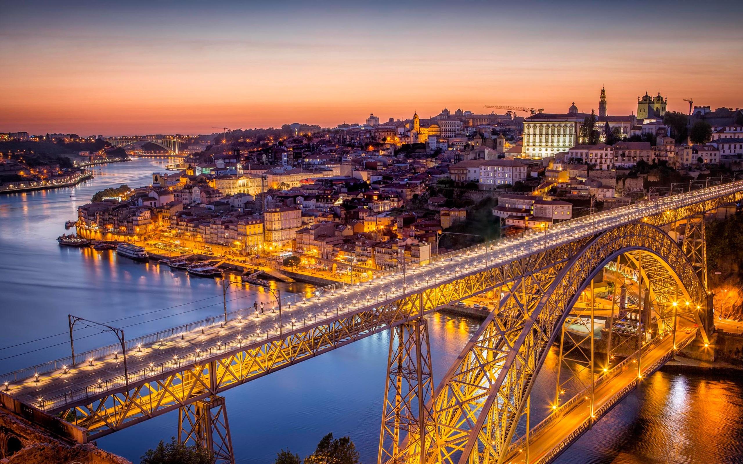 Fonds d 39 cran portugal pont nuit ville rivi re for Fond ecran portugal