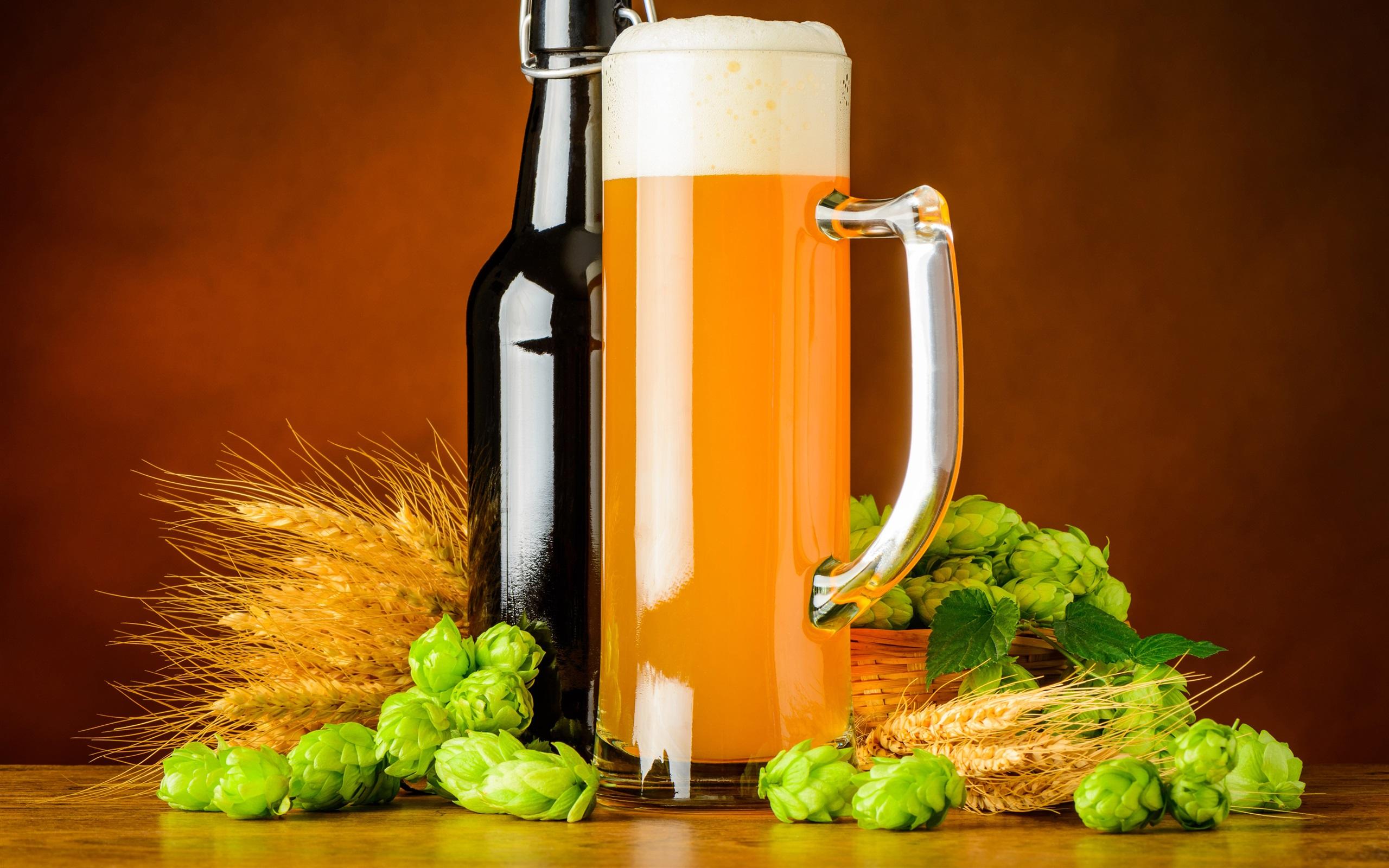Wallpaper Bottle Hops Beer Mug 3840x2160 Uhd 4k Picture