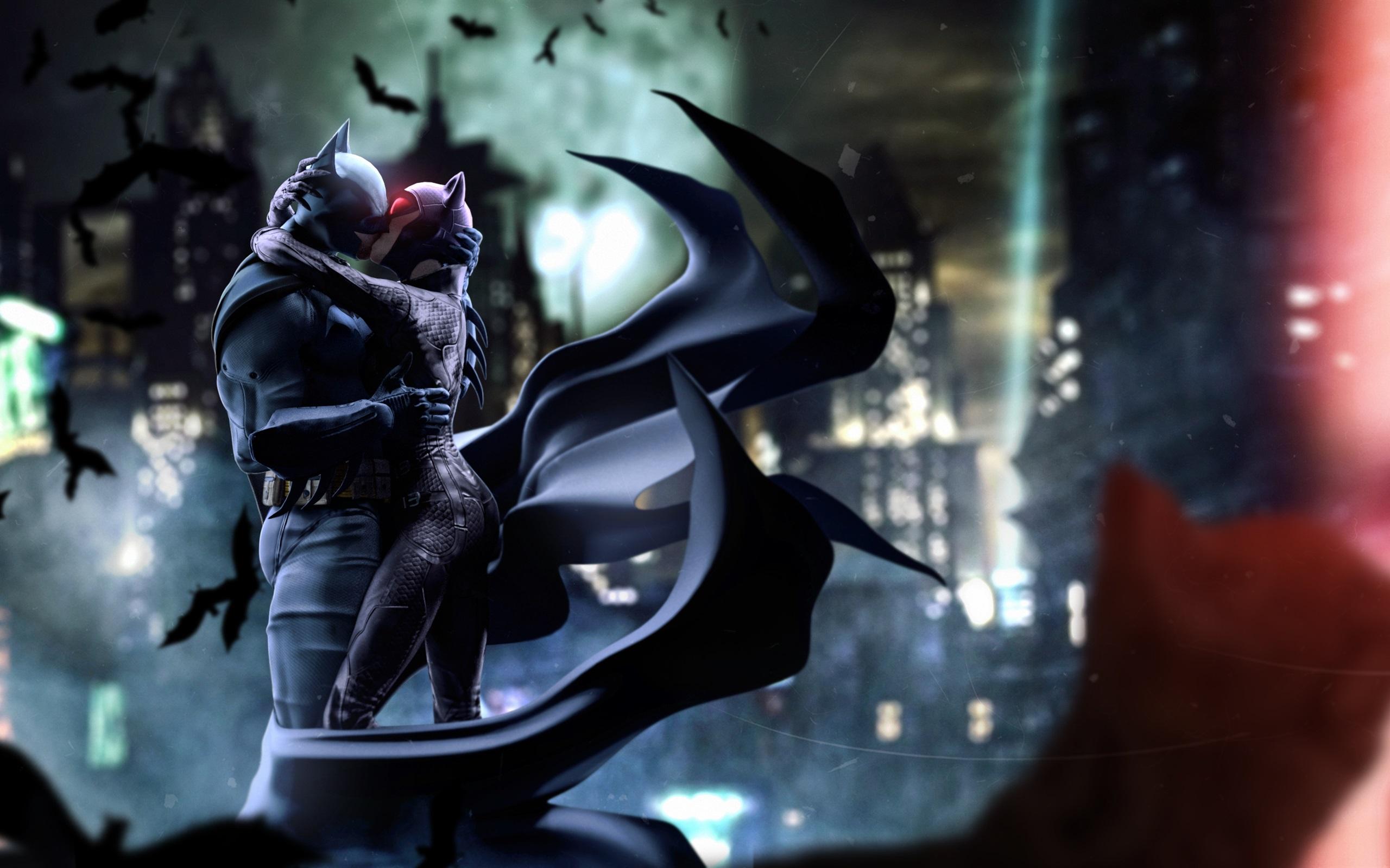 Wallpaper Batman And Catwoman Kiss Dc Comics 2560x1600 Hd Picture
