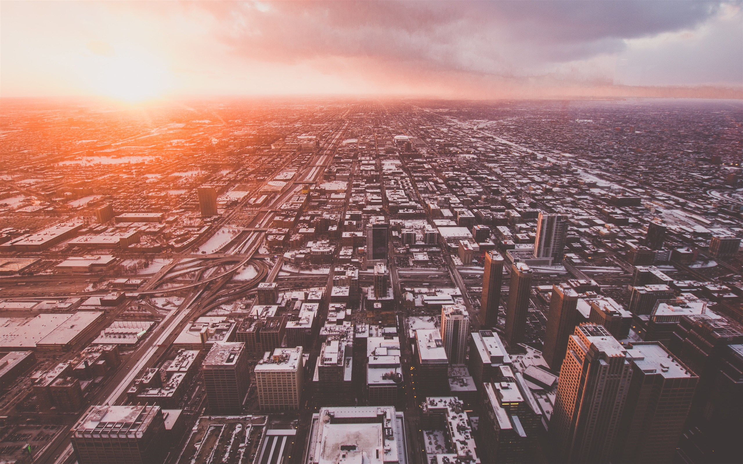 Chicago Usa City Top View Clouds Sunrise 1125x2436