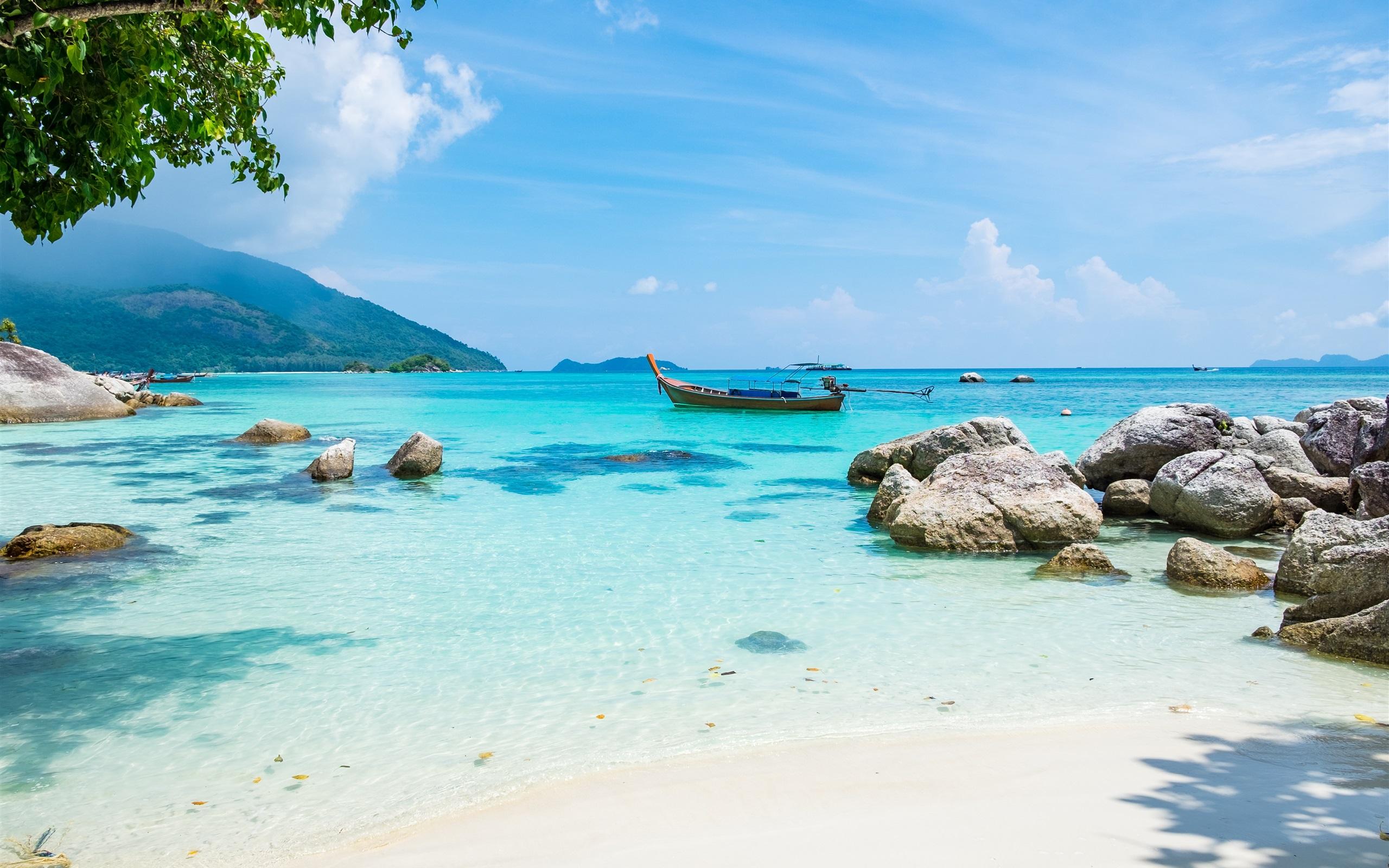 tropen landschaft, meer, strand, boot, sommer 3840x2160 uhd 4k