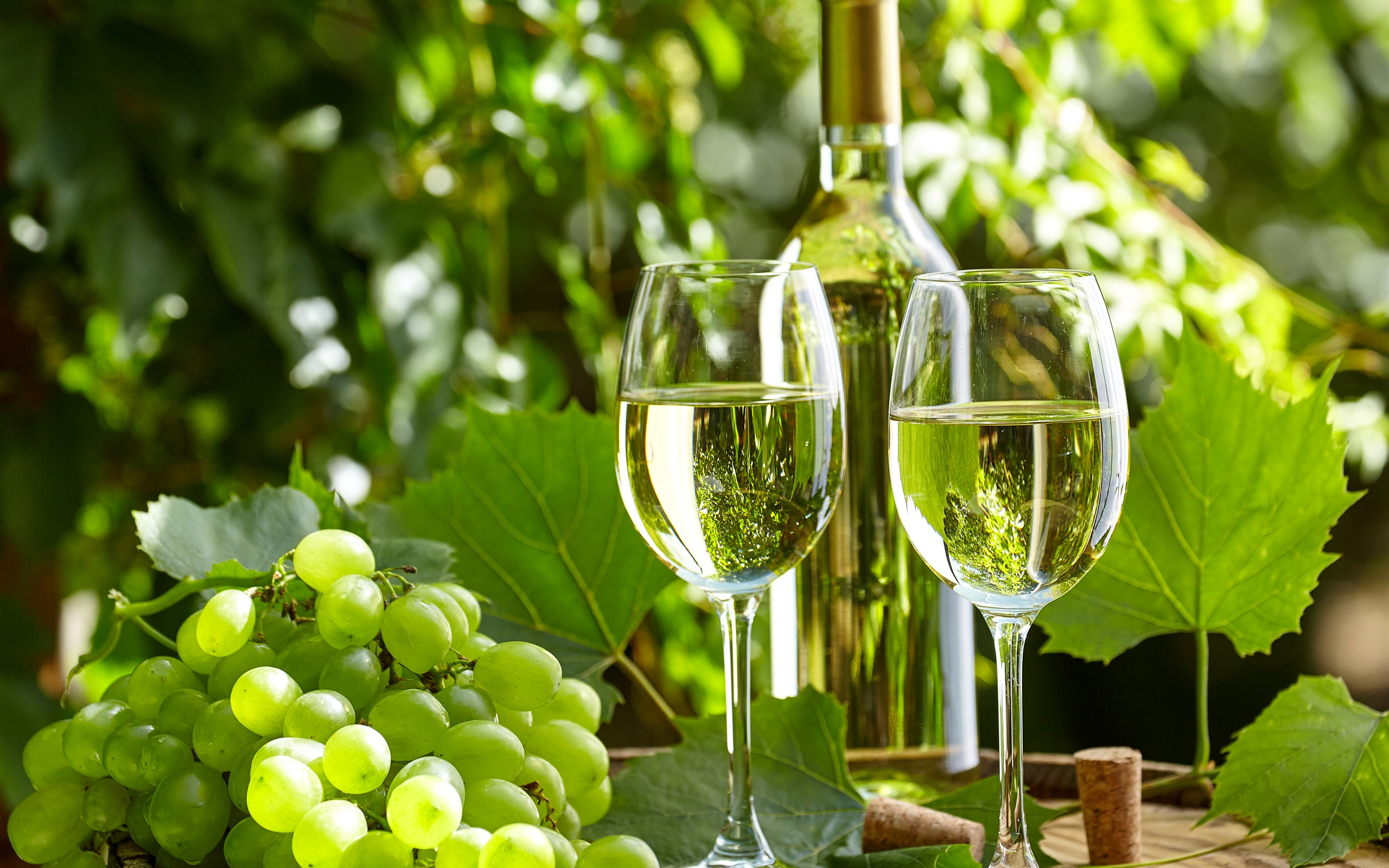 Wallpaper Green Grapes Wine Bottle Glass Cups Sunshine