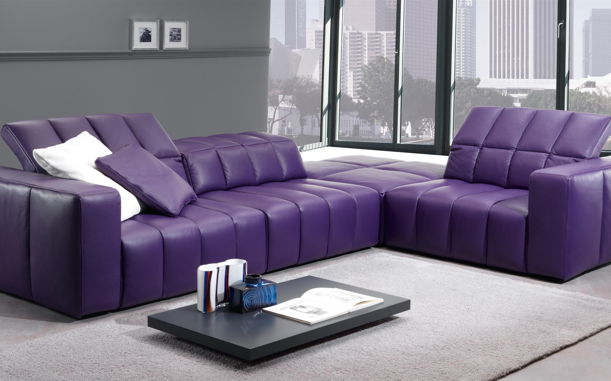 Wallpaper Living Room Purple Sofa Window 3840x2160 Uhd
