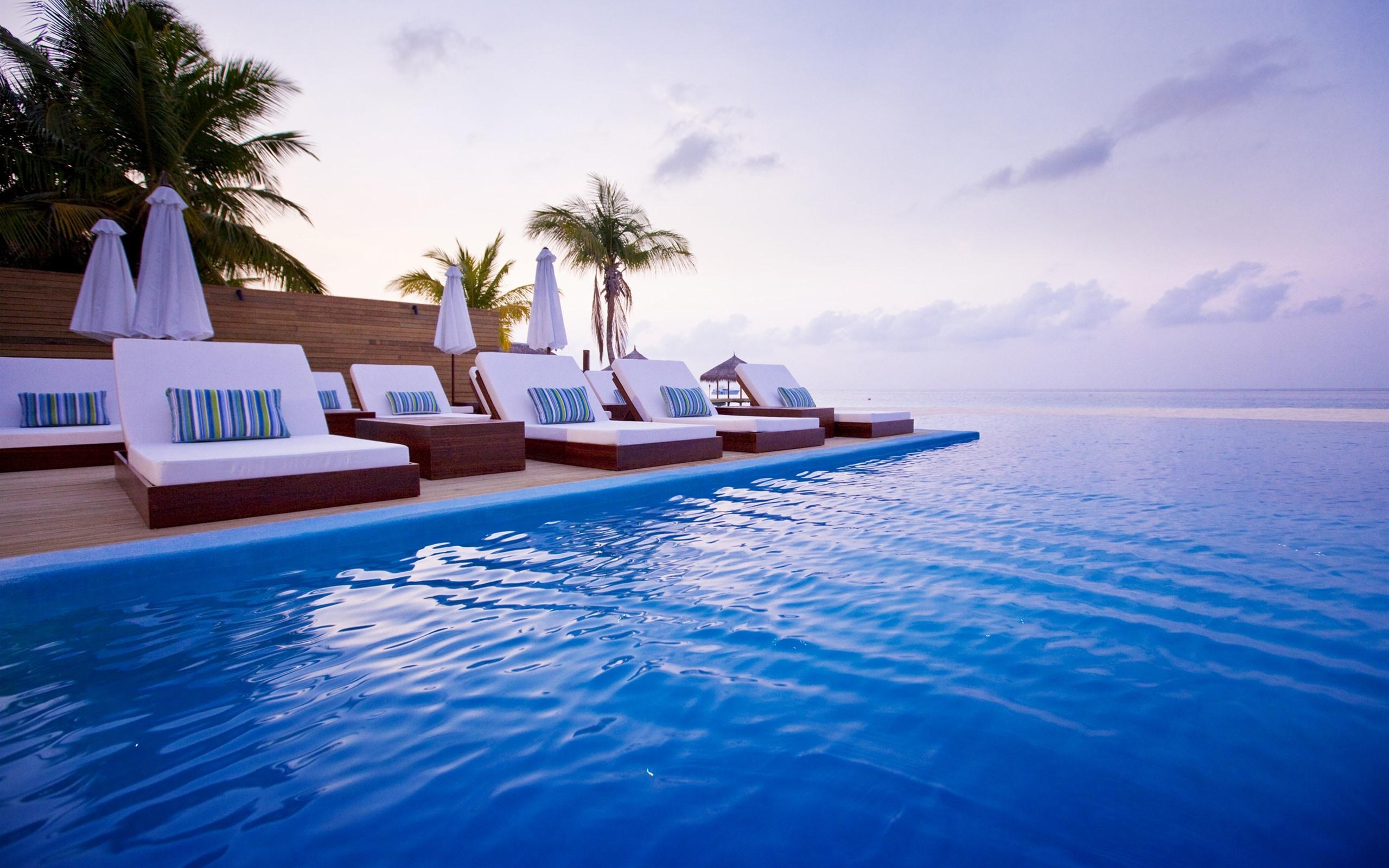 Wallpaper Umbrella Upside Down Floating Hd Creative: Wallpaper Maldives, Sun Lounger, Sea, Pool, Resort