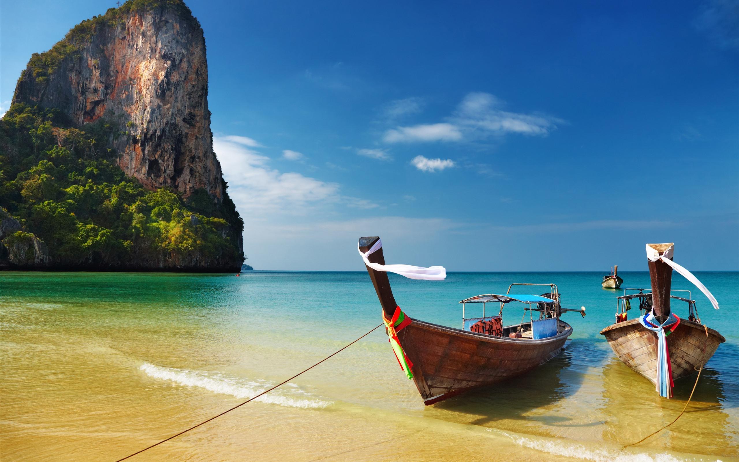 壁紙 タイ 海 ビーチ ボート 青空 3840x2160 Uhd 4k 無料の