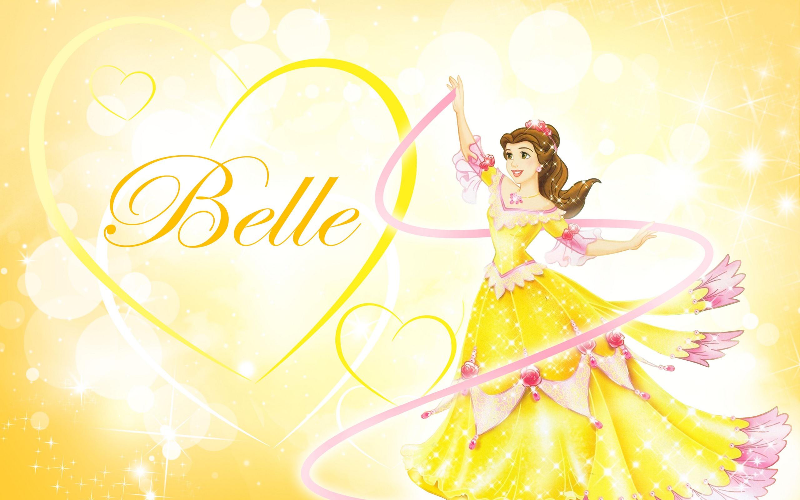 壁紙 ベル プリンセス ラブハート 黄色のスカート ディズニー