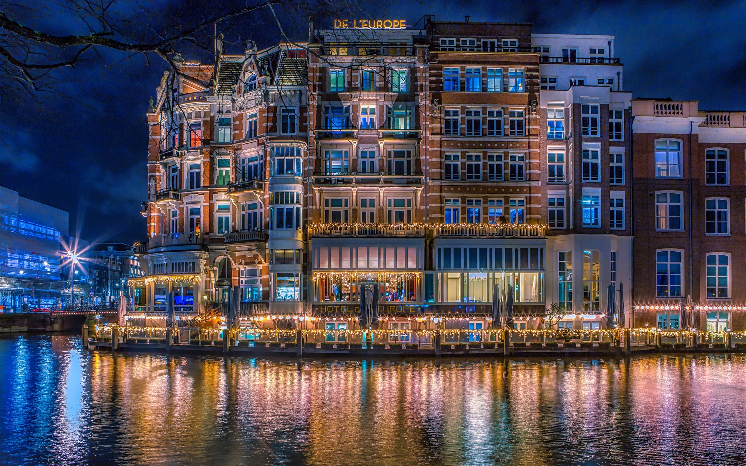 Обои канал, нидерланды, дома, ночь. Города foto 16