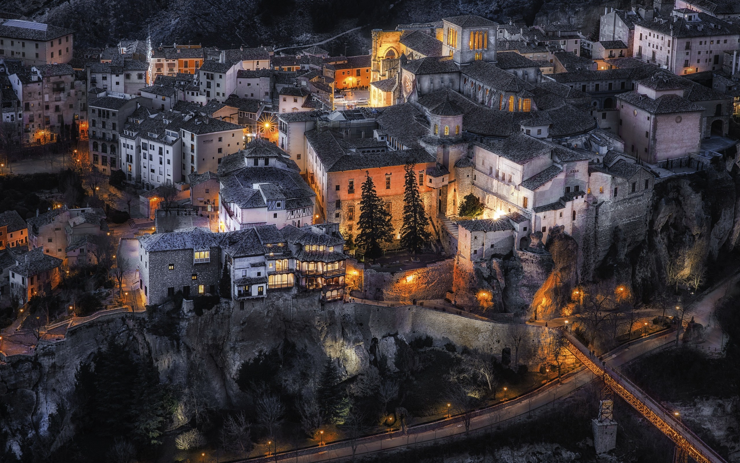 壁紙 スペイン カスティーリャラマンチャ 市 夜 住宅 ライト