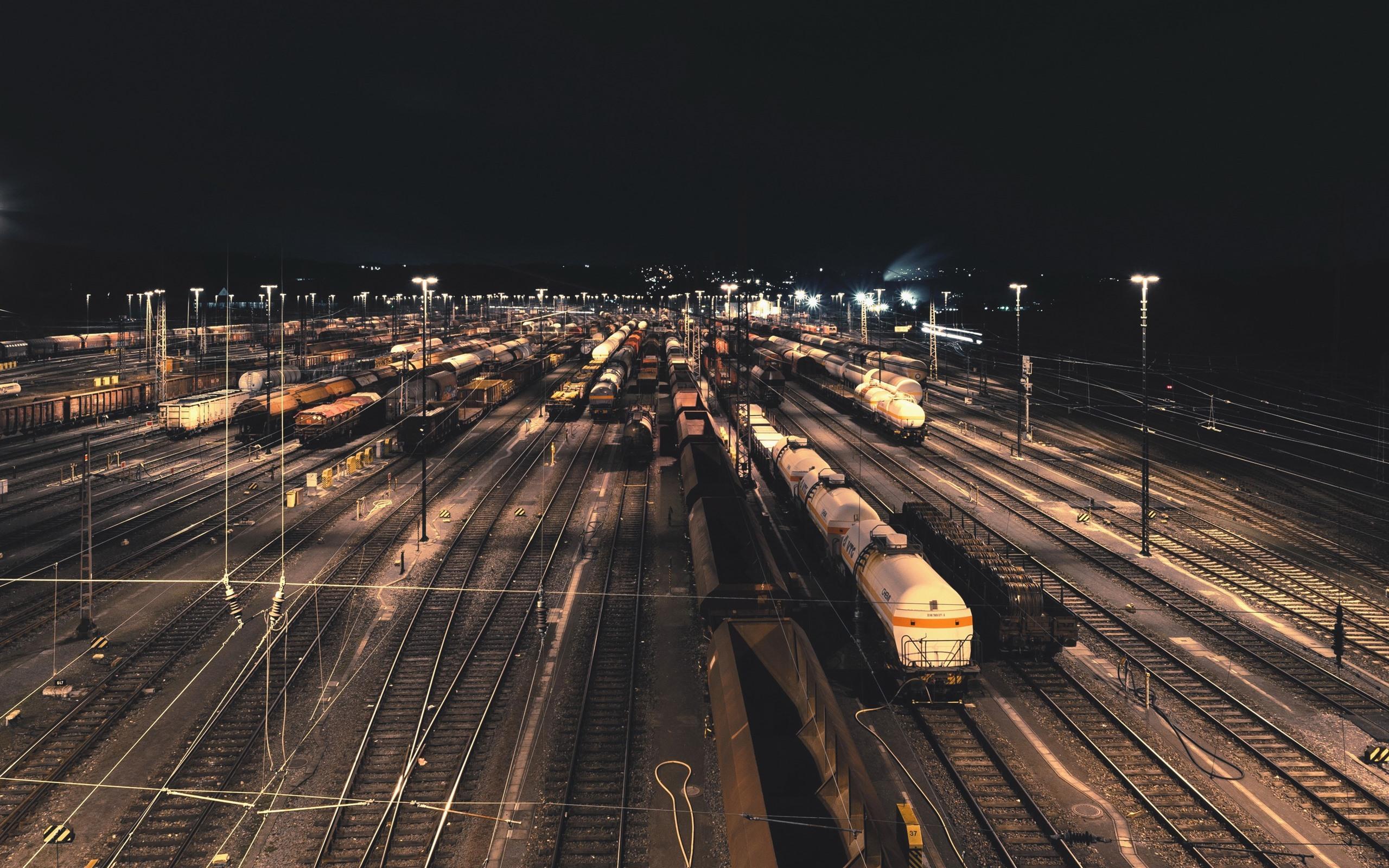 Wallpaper Train Station Railroad Night 2560x1600 Hd