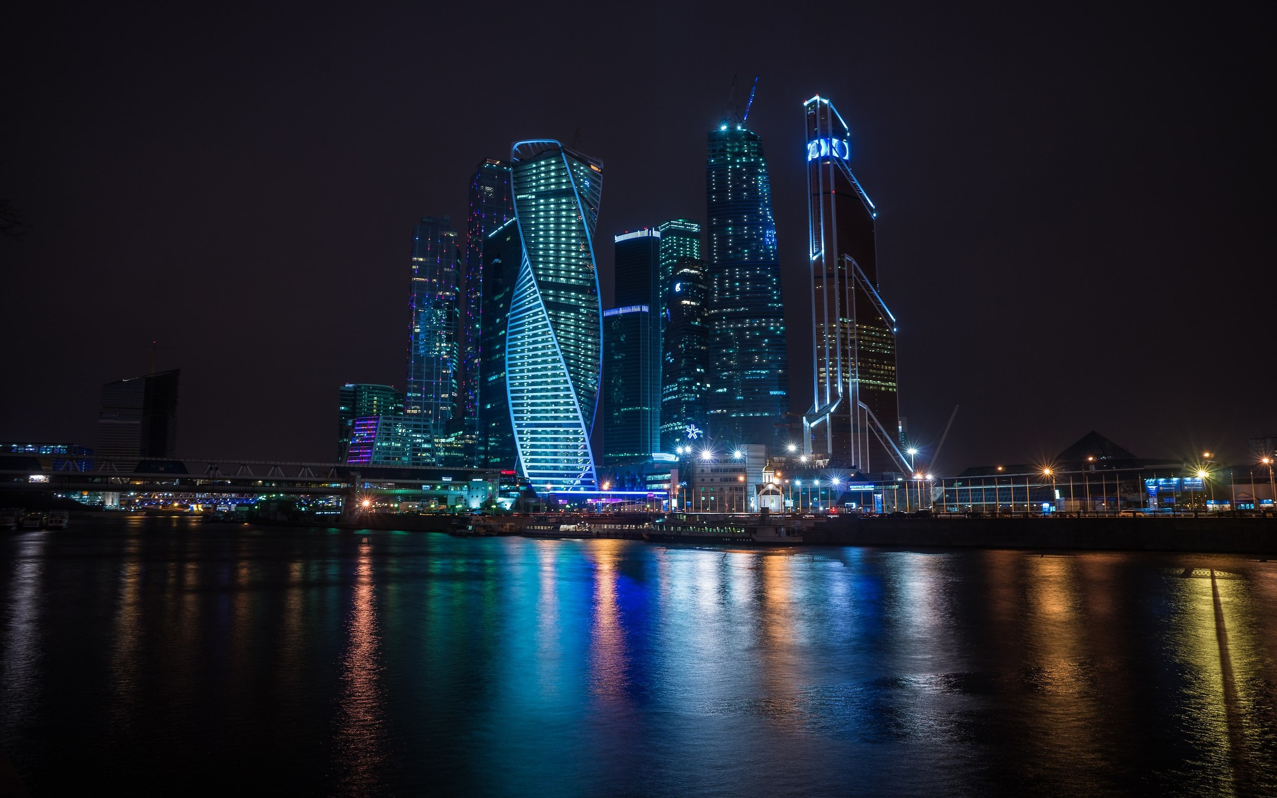 Wallpaper Russia Moscow Skyscrapers Night River Lights