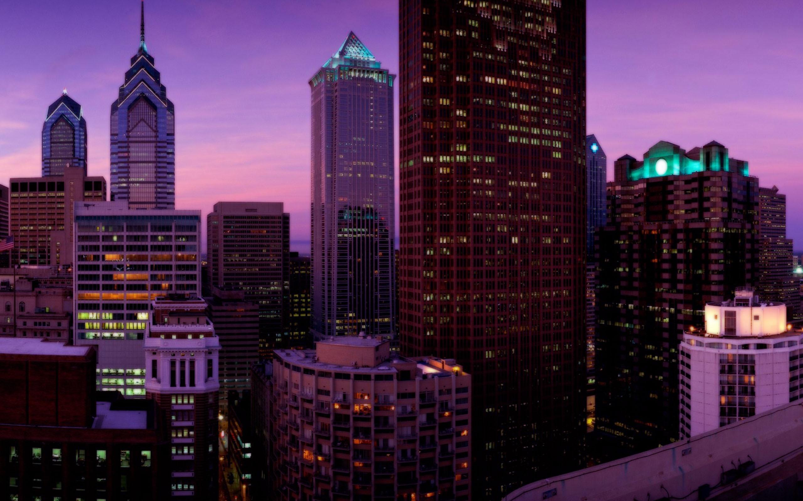 Обои дома, филадельфия, сша, небоскребы, утро. Города foto 7