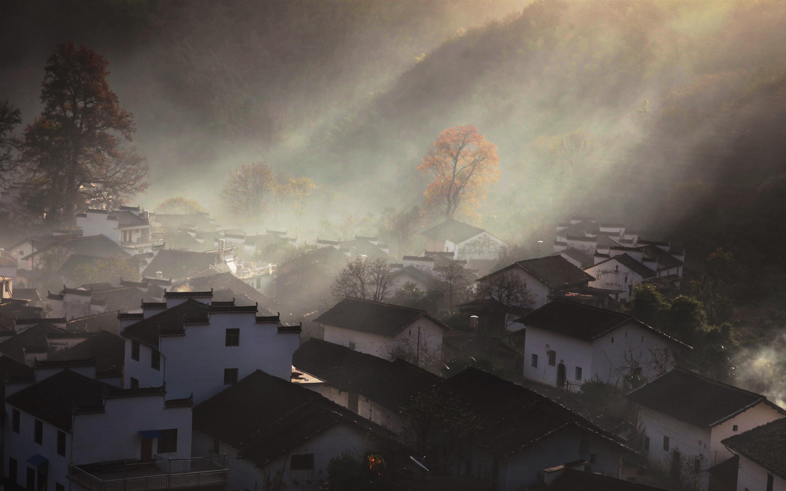 壁紙 石城 村 家 太陽光線 かすんでいる 朝 中国 51x Uhd 5k 無料のデスクトップの背景 画像