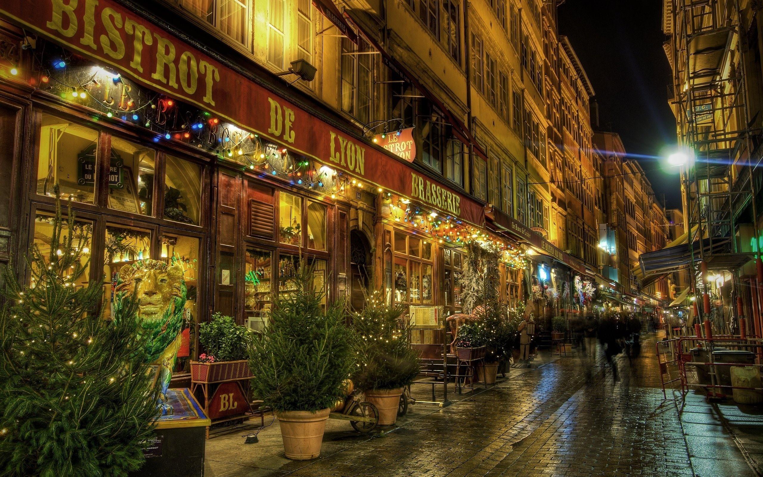Обои фонари, забор, ночь, улица. Города foto 19