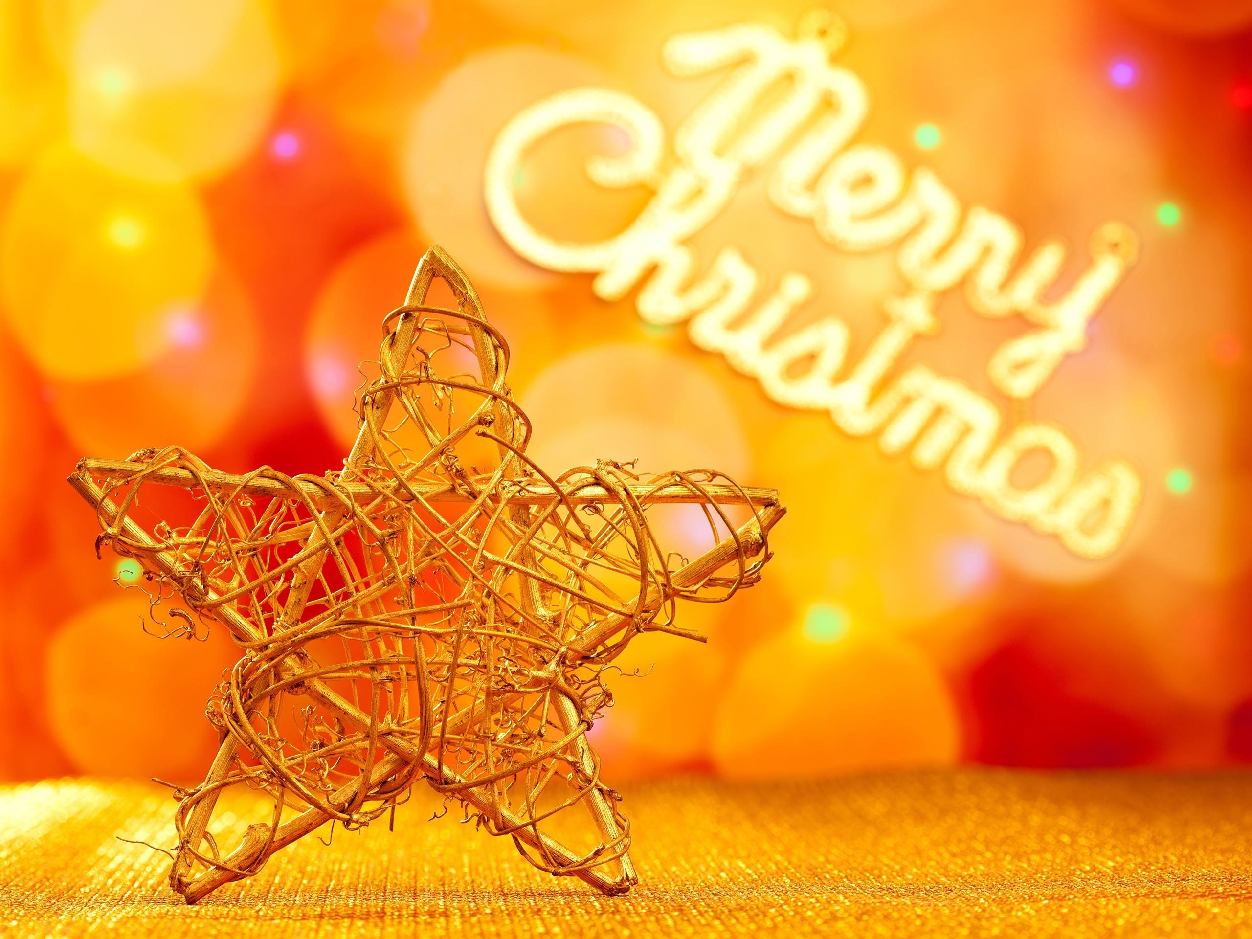 Weihnachtsdekoration, fünfzackigen Stern, goldenen Stil 2560x1920 HD ...
