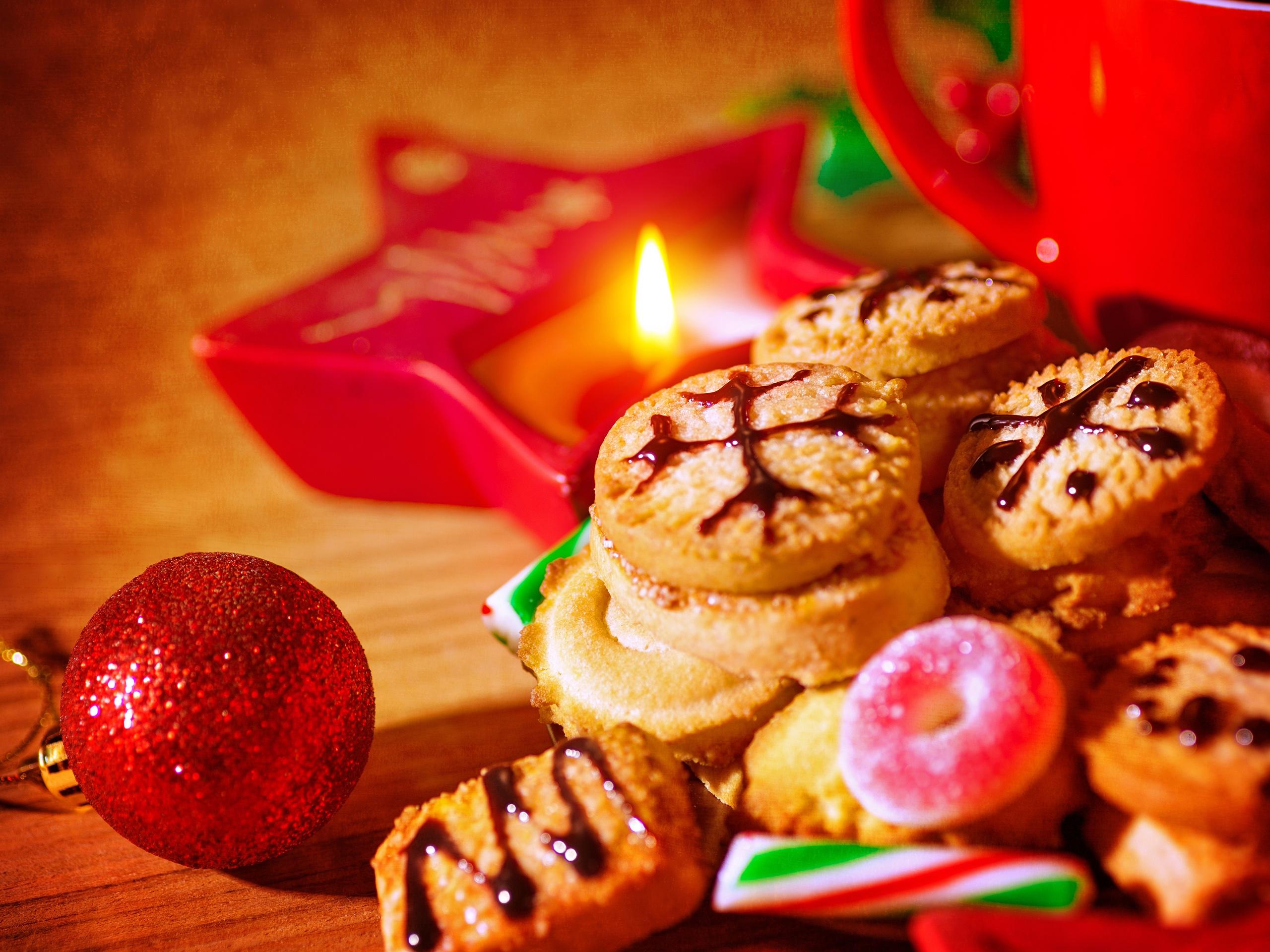 壁紙 クッキー お菓子 ライト クリスマス 新年 2560x1920 Hd 無料