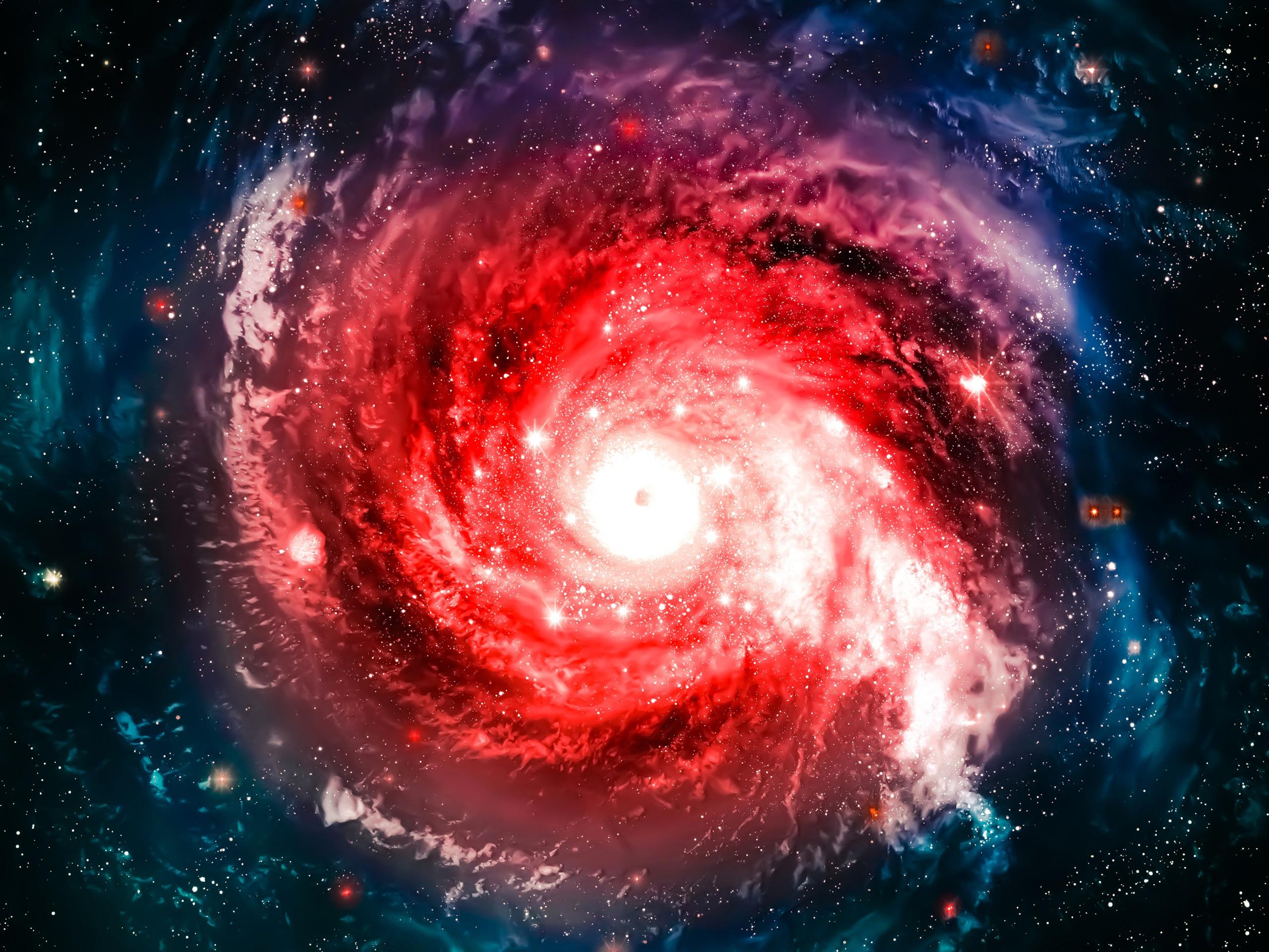 Wallpaper Red nebula, galaxy, universe, sky, stars ...