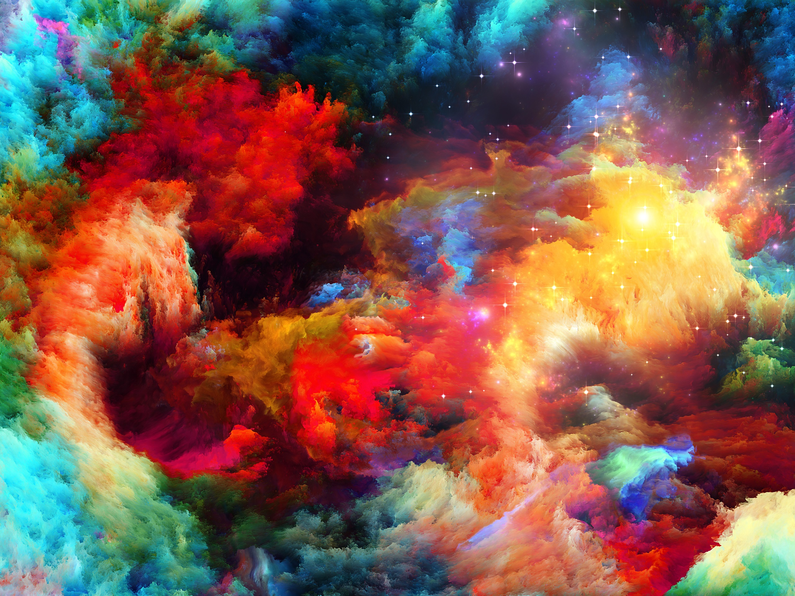 wallpaper colorful space, abstract design, stars 2560x1920 hd