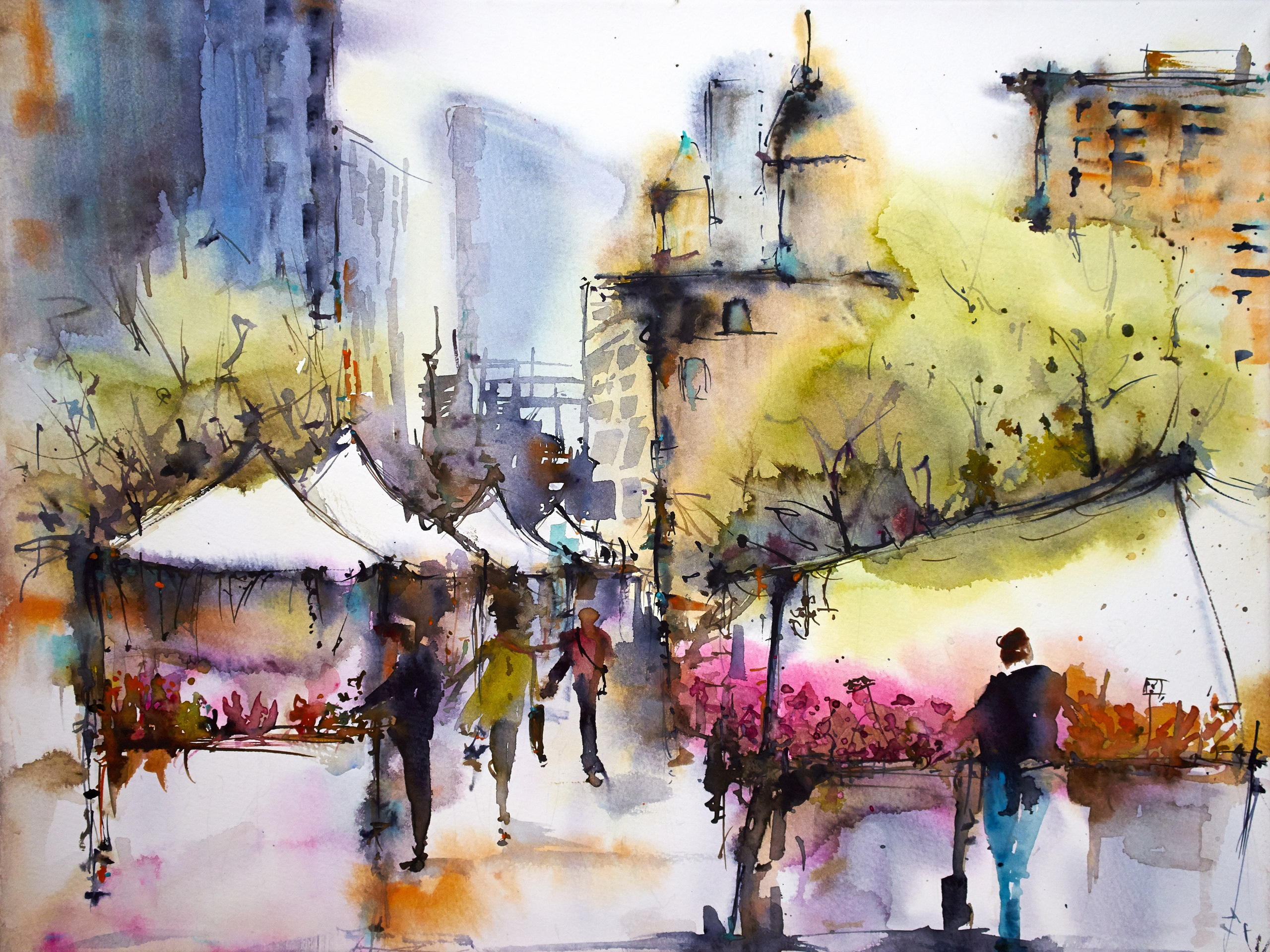Wallpaper City March Spring People House Watercolor 2560x1920