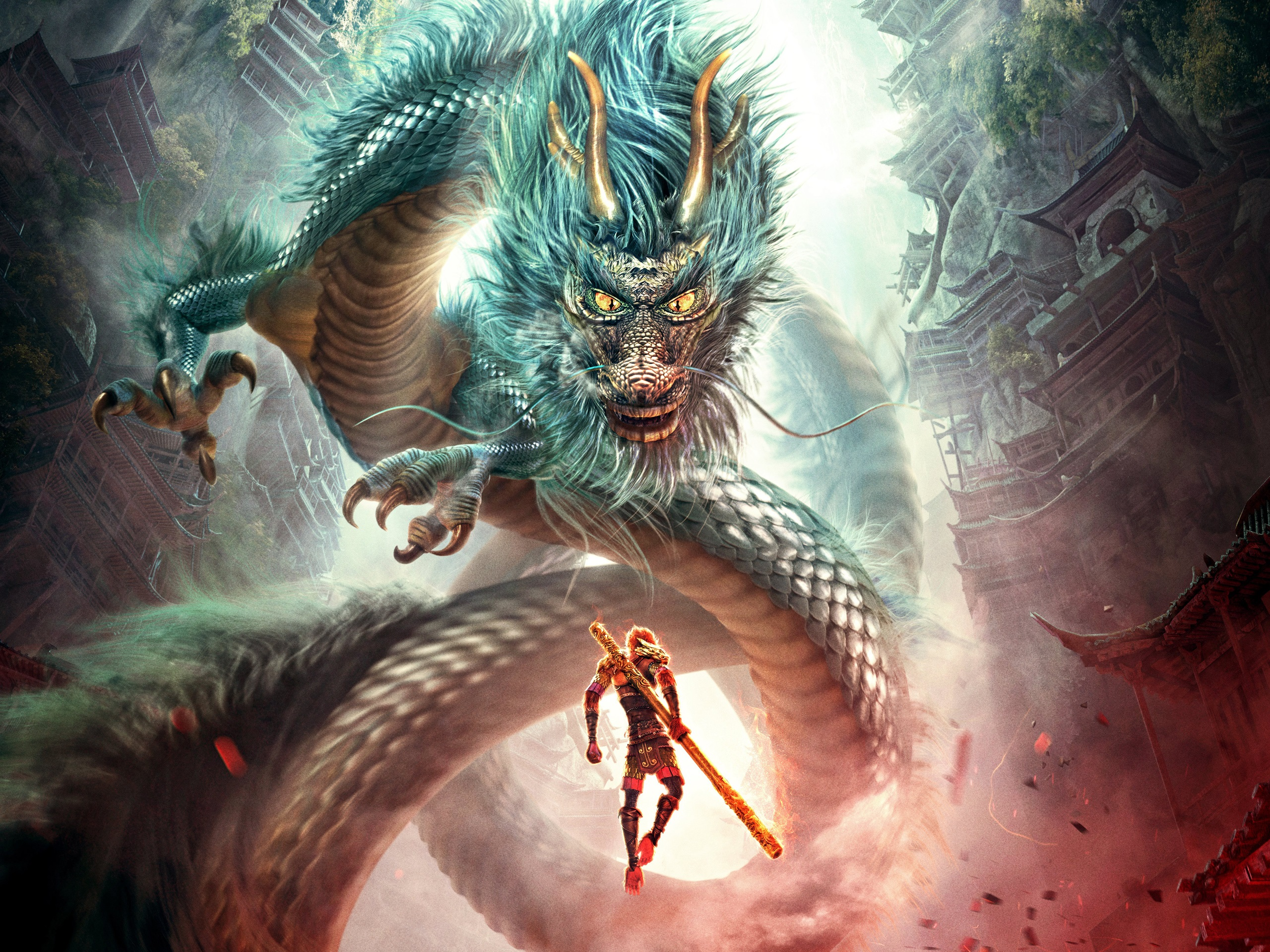 Wallpaper Monkey King Hero Is Back Fight Dragon 2560x1920