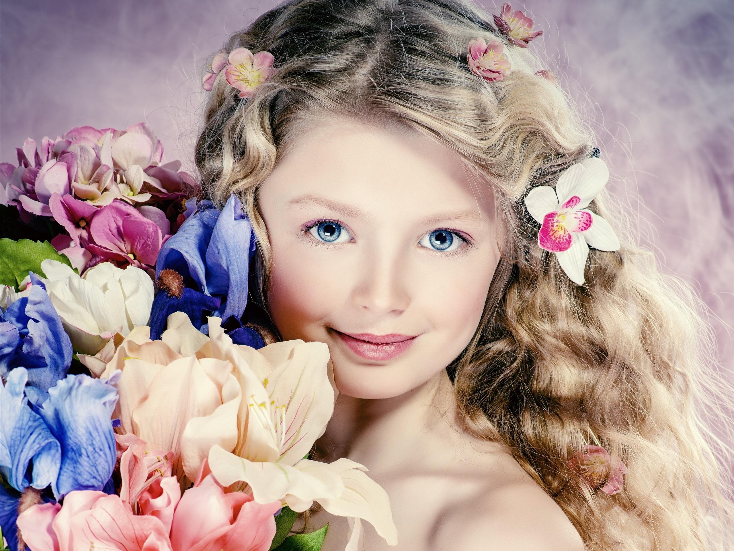 Wallpaper cute girl portrait curly hair flowers blue eyes download this wallpaper izmirmasajfo