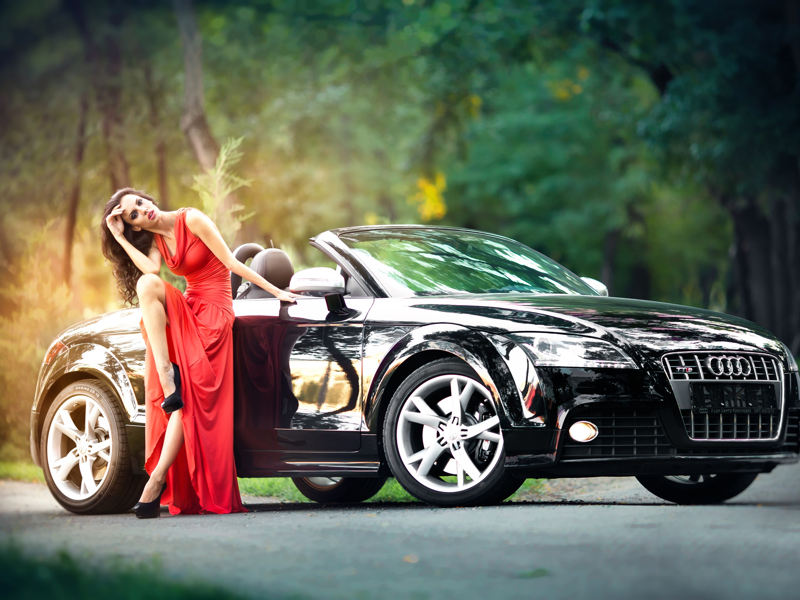Red Dress Girl And Black Audi Car 750x1334 Iphone 8766s
