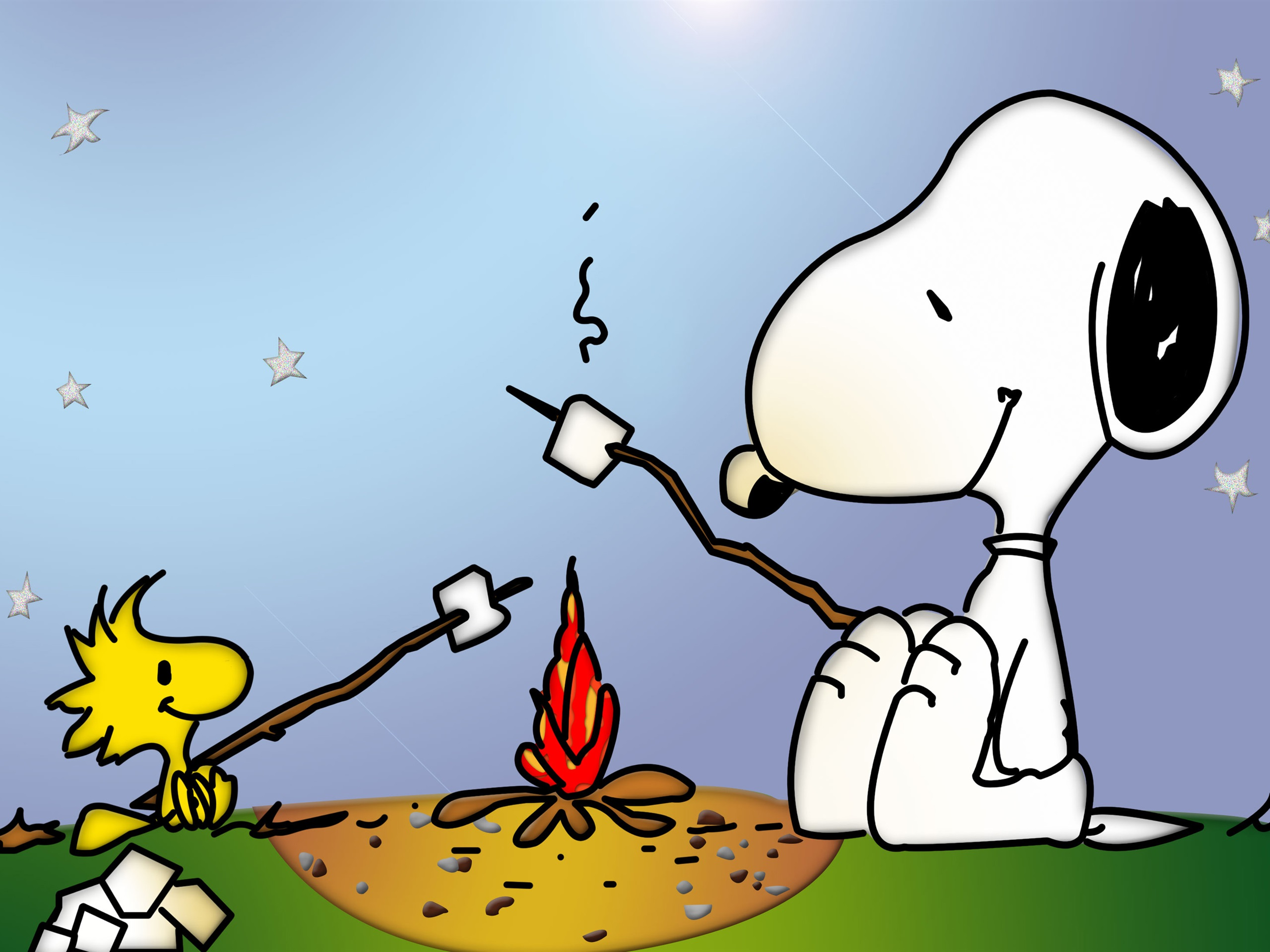 Snoopy And Little Bird Campfire 750x1334 Iphone 8 7 6 6s