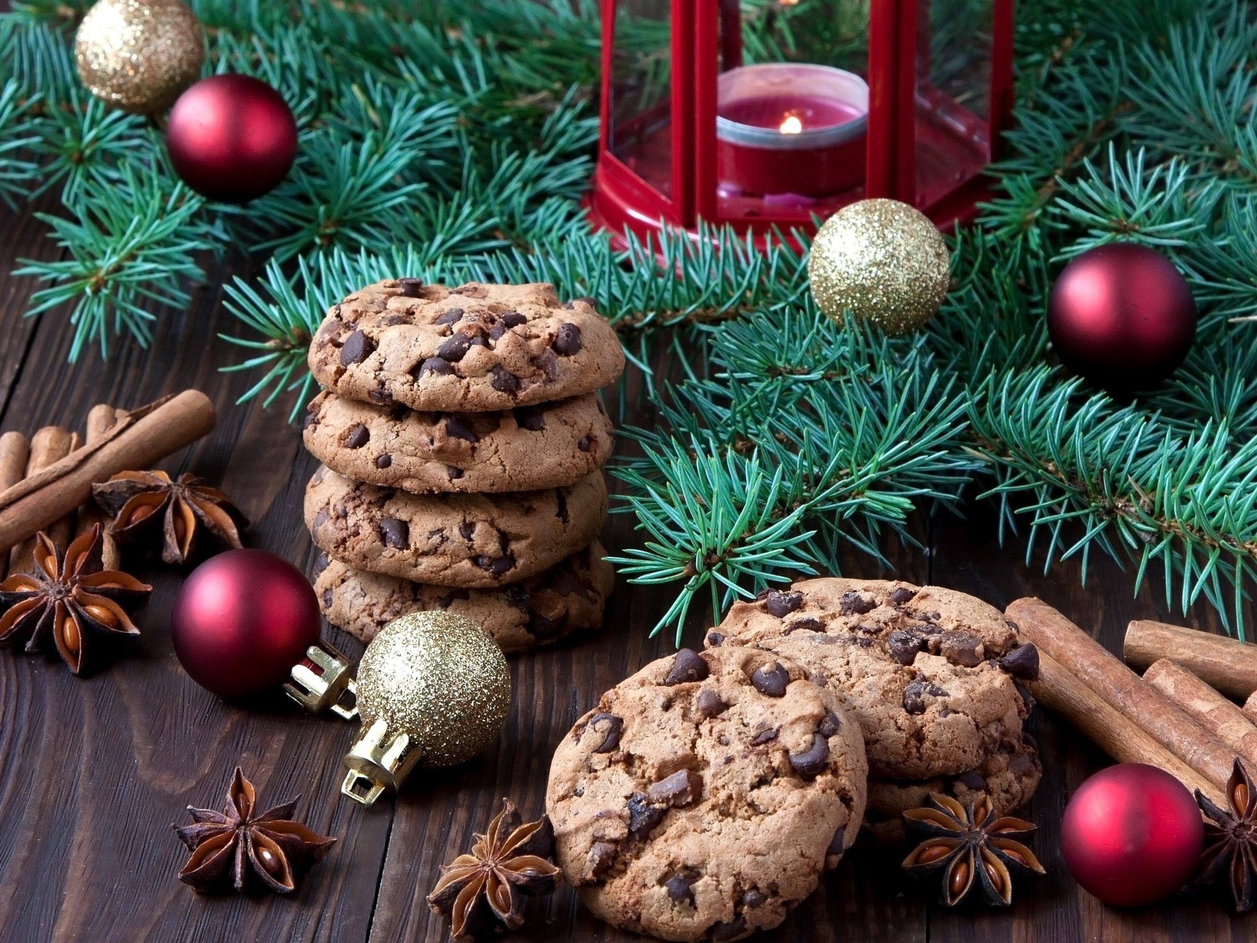 Wallpaper Christmas food, chocolate cookies, tree branches, balls, candle  2560x1920 HD Picture, Image