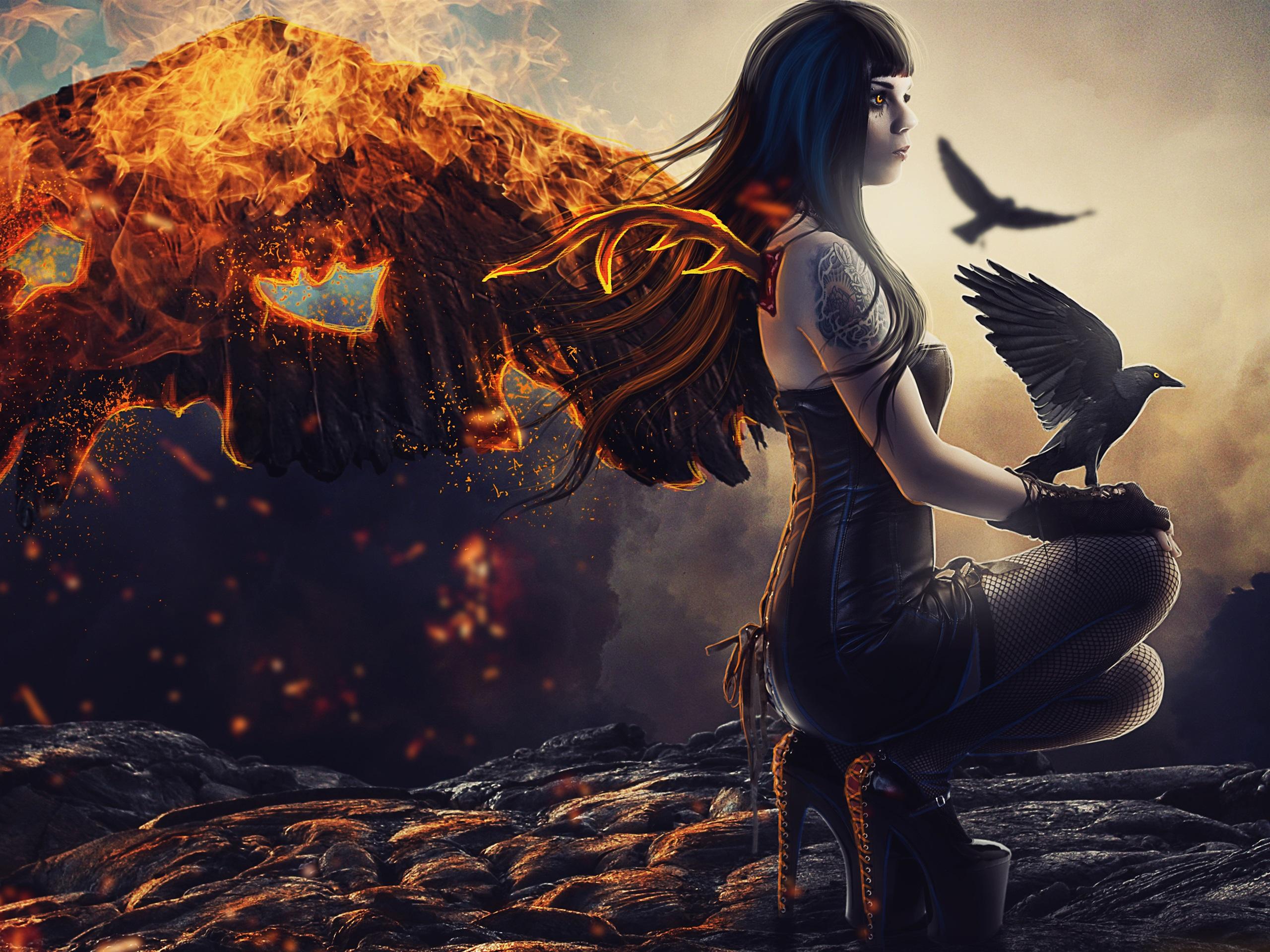 壁紙 ファンタジーガール 倒れた天使 羽 火 カワウソ 3840x2160