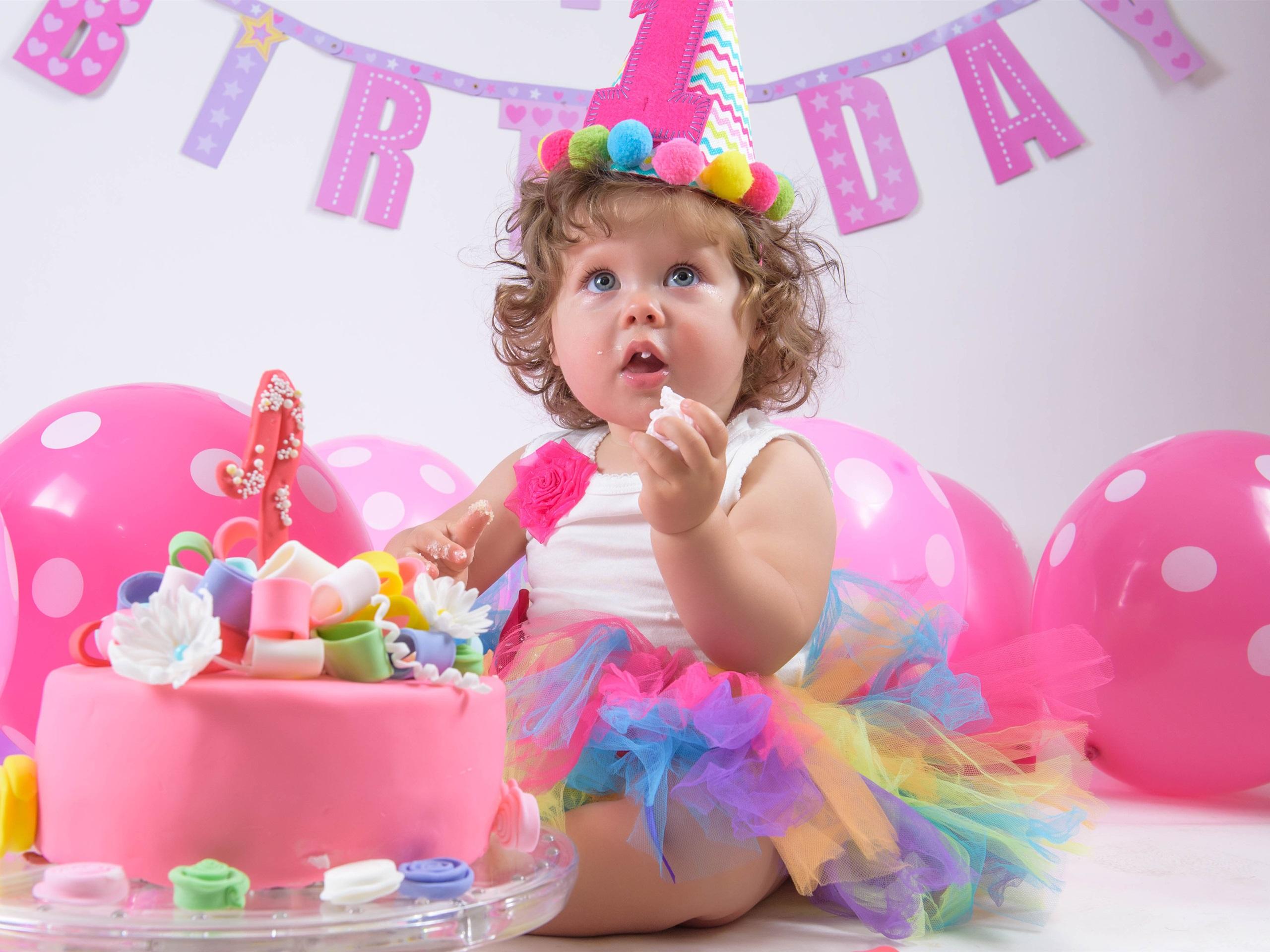 Alles Gute Zum Geburtstag Kind Mädchen Kuchen Ballons 3840x2160