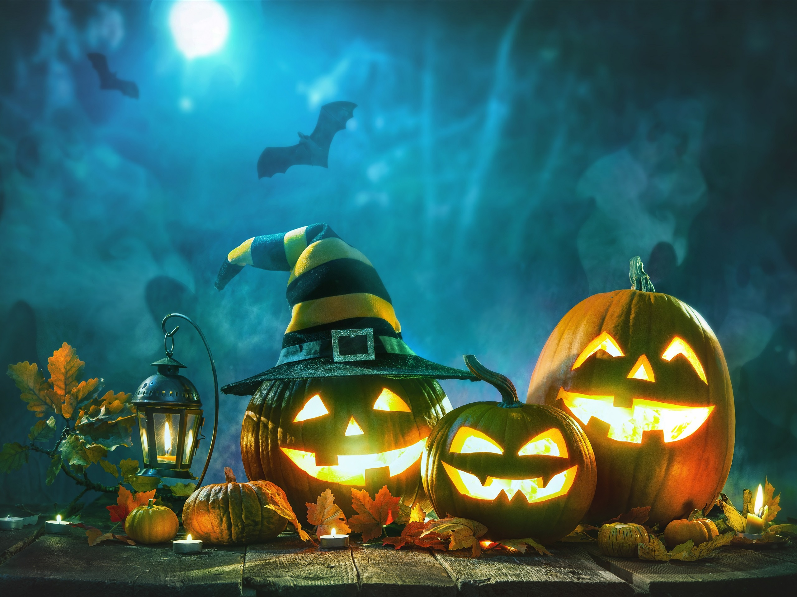 Wallpaper Halloween, pumpkin lamp, night 3840x2160 UHD 4K ...