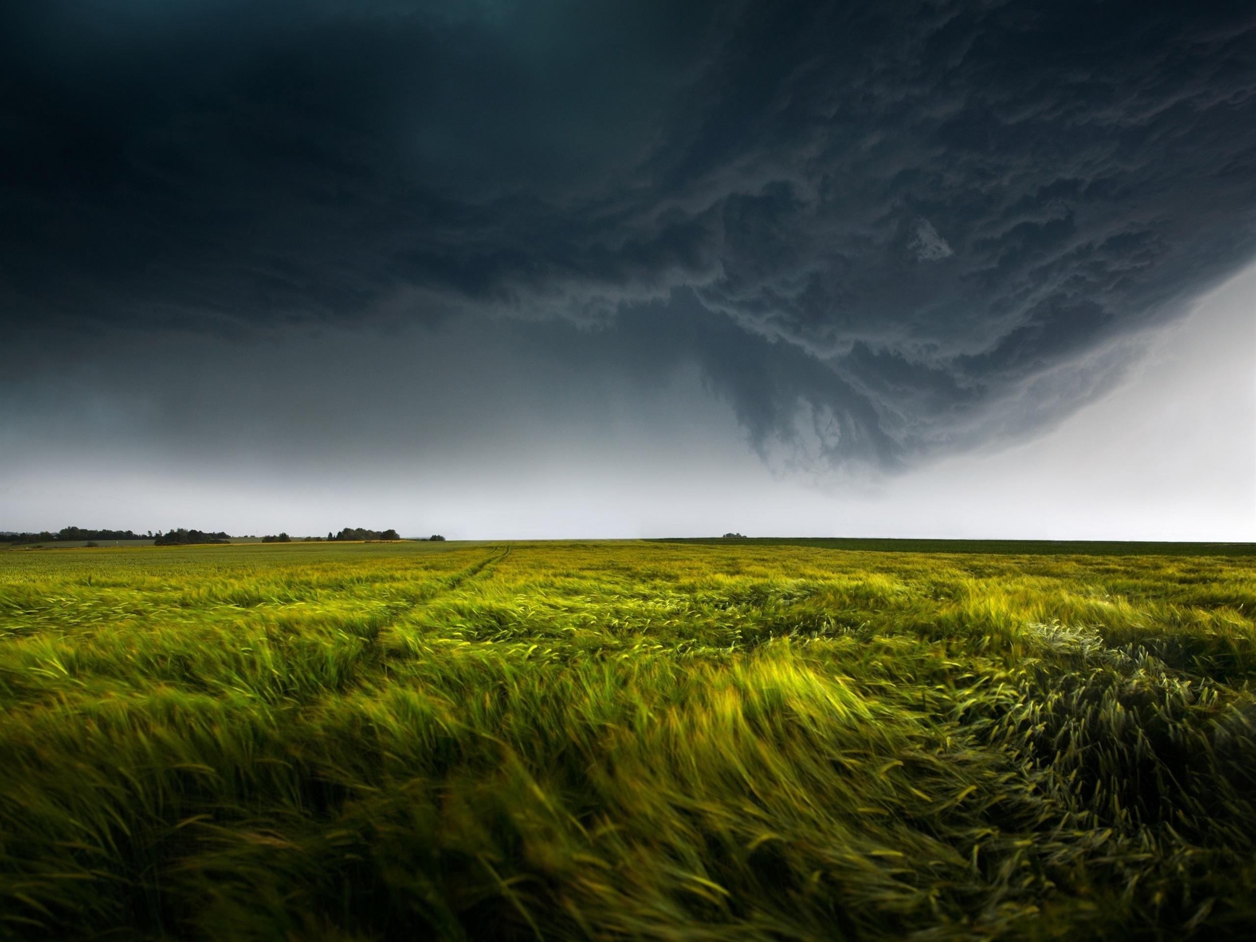 壁紙 自然 緑の畑 嵐 暗い雲 稲妻 2560x1920 Hd 無料の