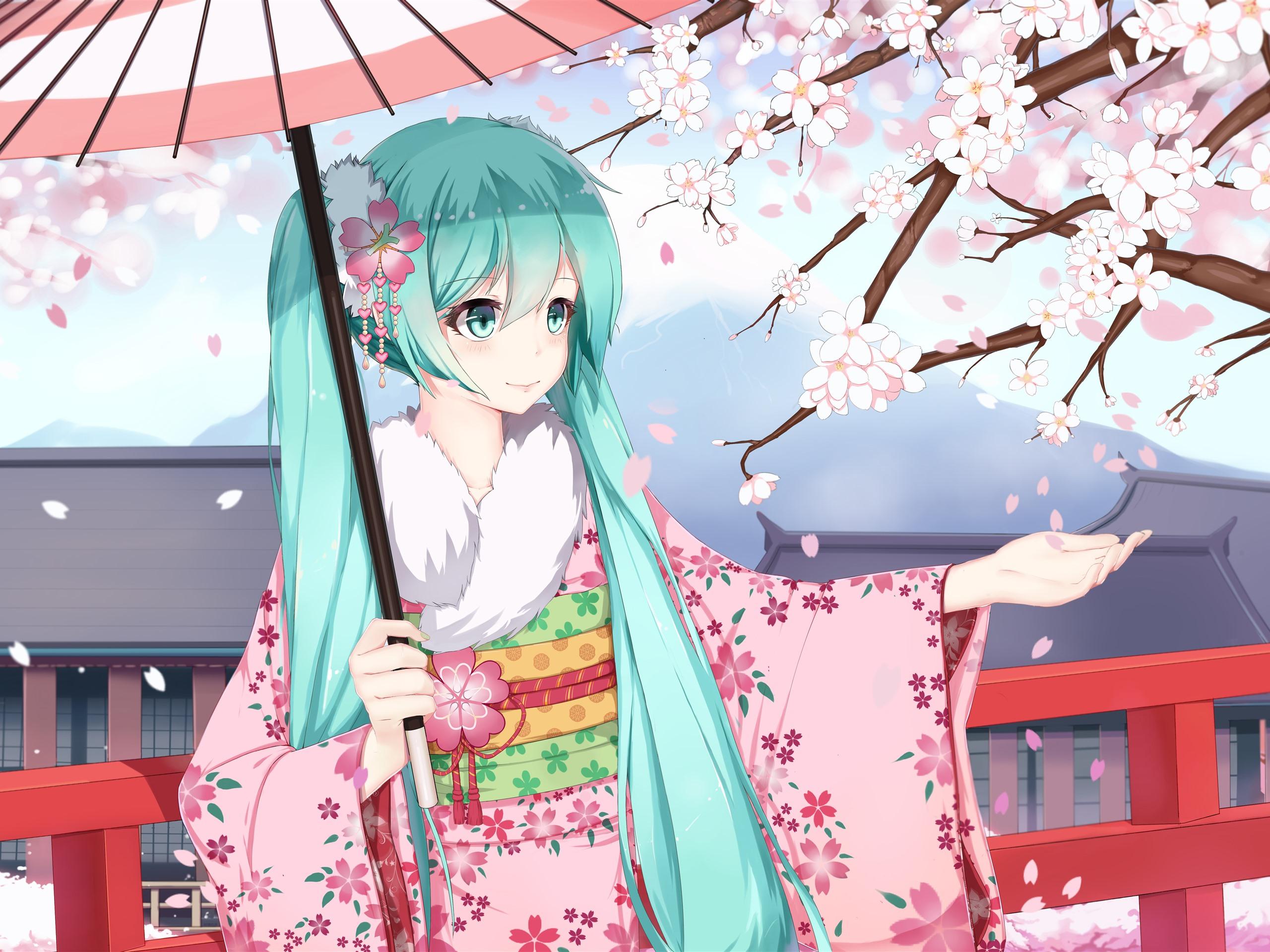 Hatsune Miku Blue Hair Anime Girl Kimono Sakura 1242x2688