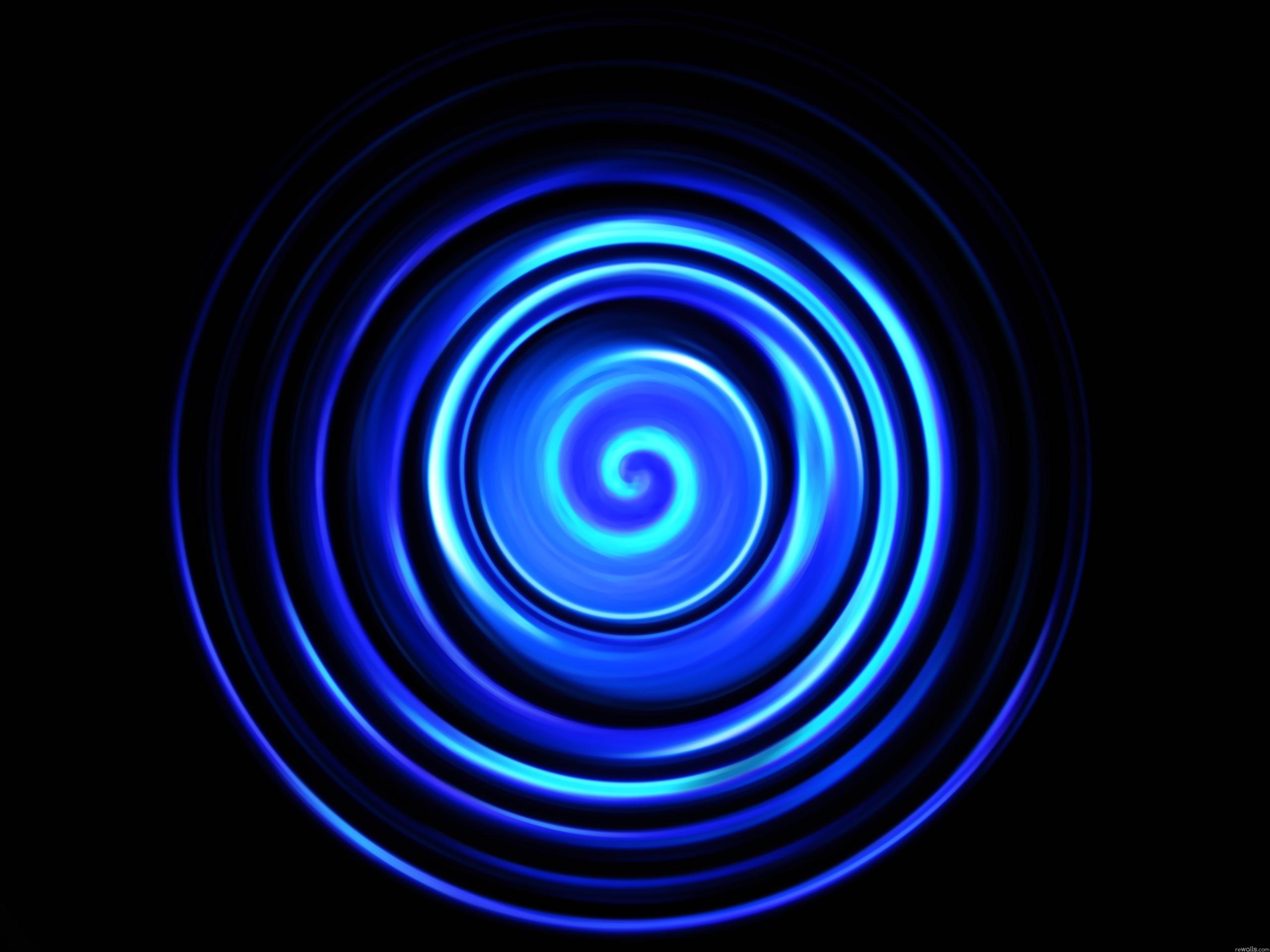 Blue Spirals Wallpapers: Wallpaper Blue Abstract Spiral, Black Background 3840x2160