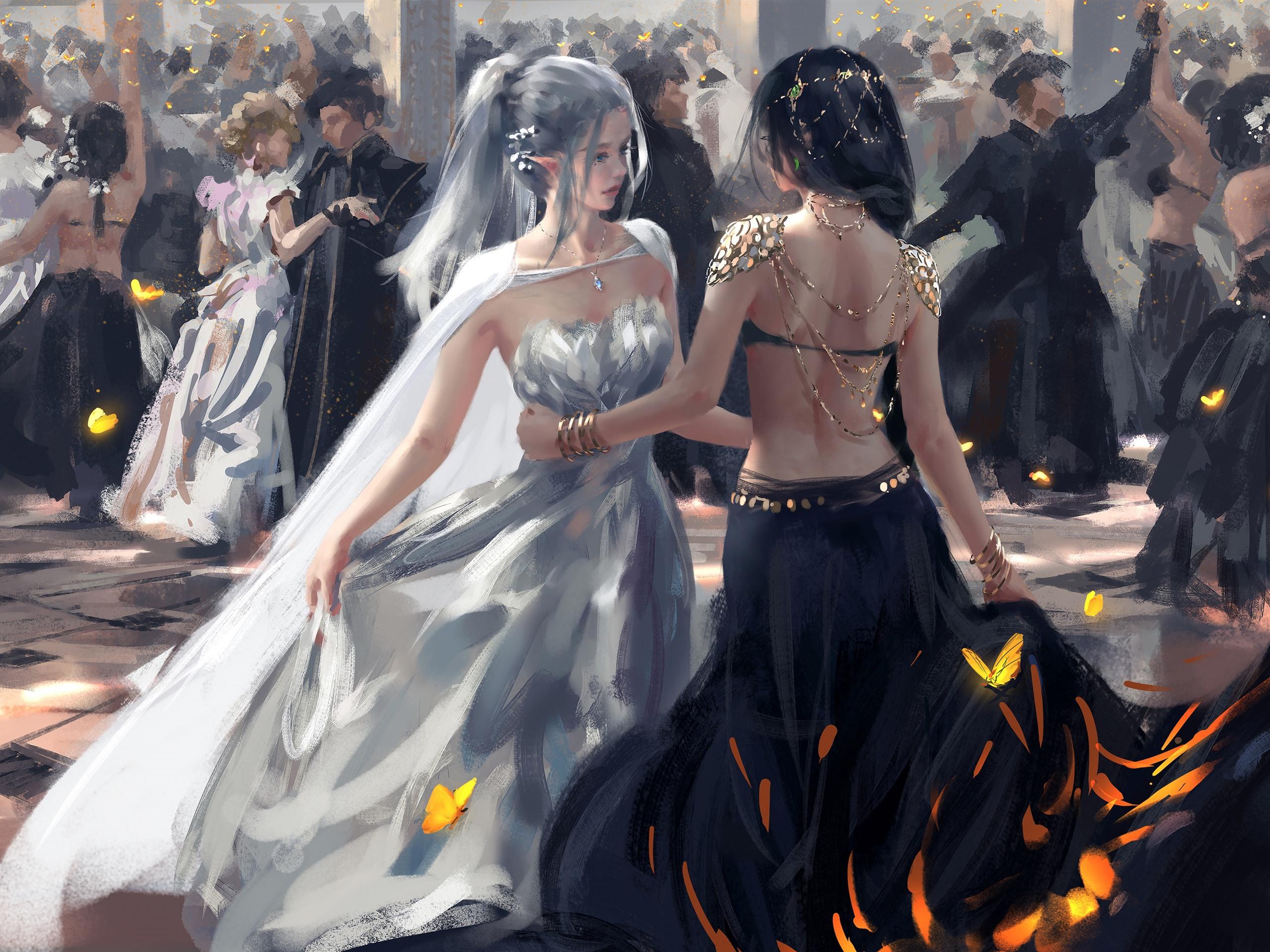 Wallpaper Dancing Girls Elf Fantasy Art Picture 3840x2160