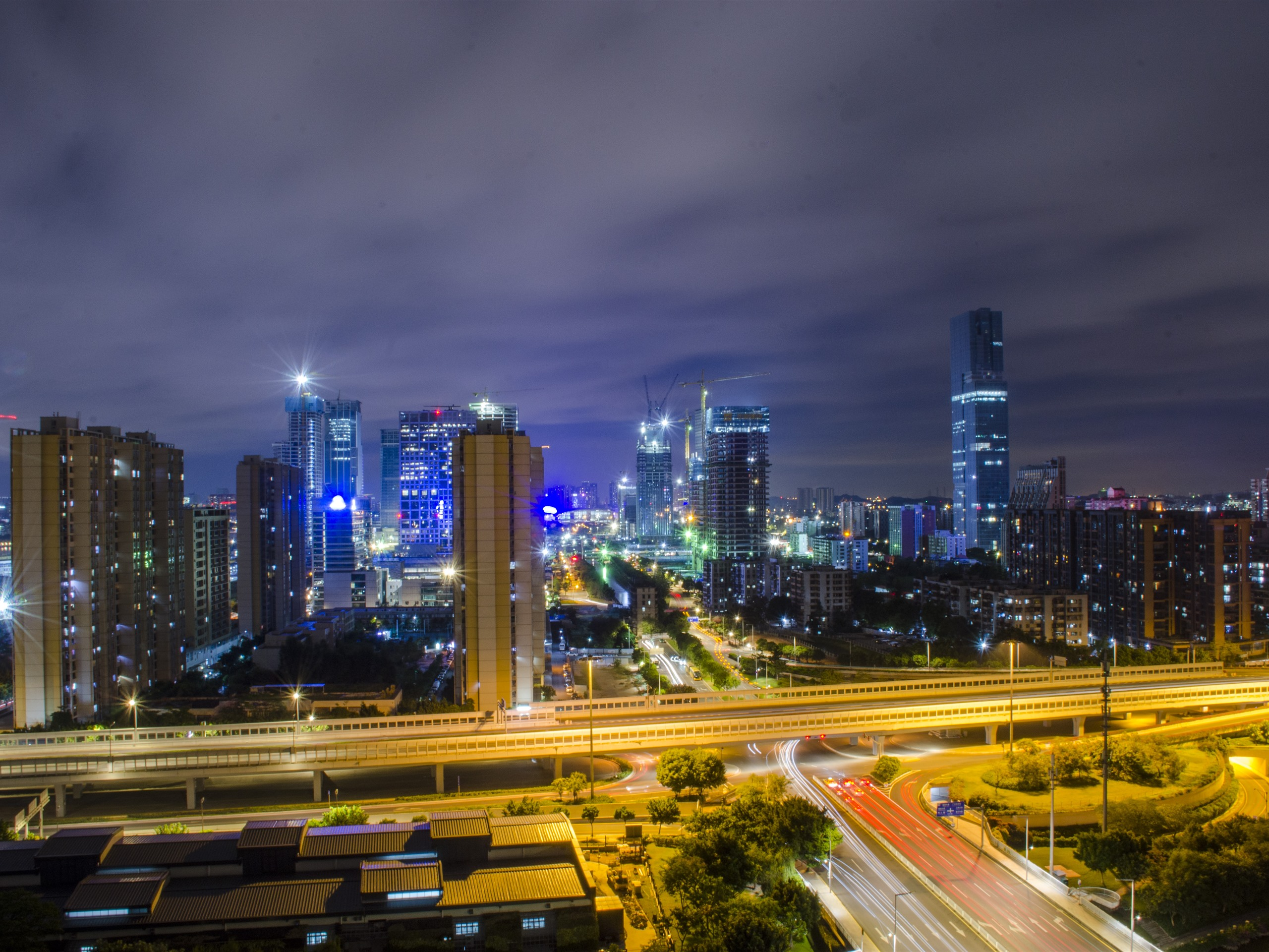 Обои огни, Город, Пейзаж, небоскребы, ночь. Города foto 7